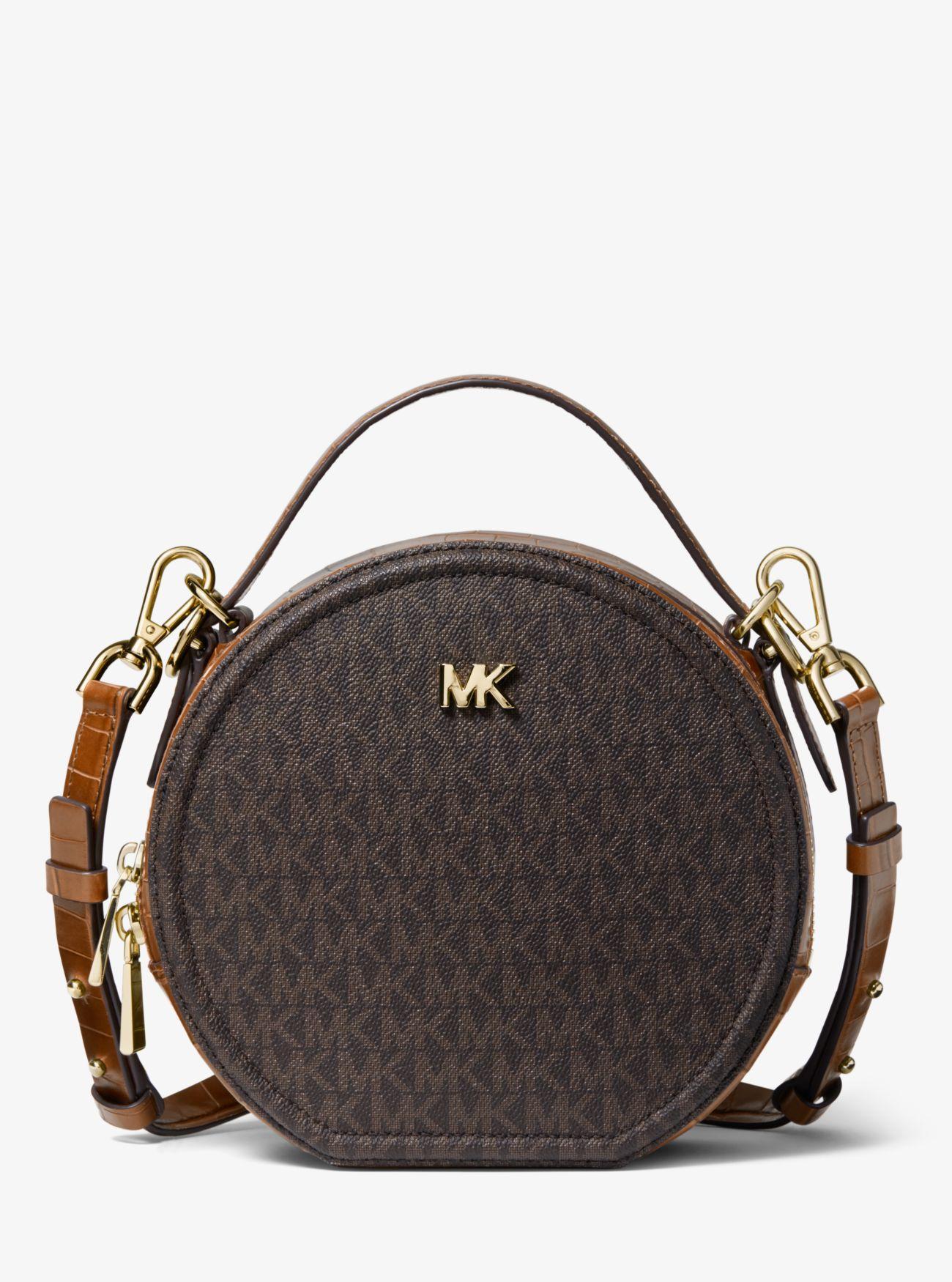 6fcadf90d35a Lyst - Michael Kors Delaney Medium Logo Canteen Crossbody Bag in Brown