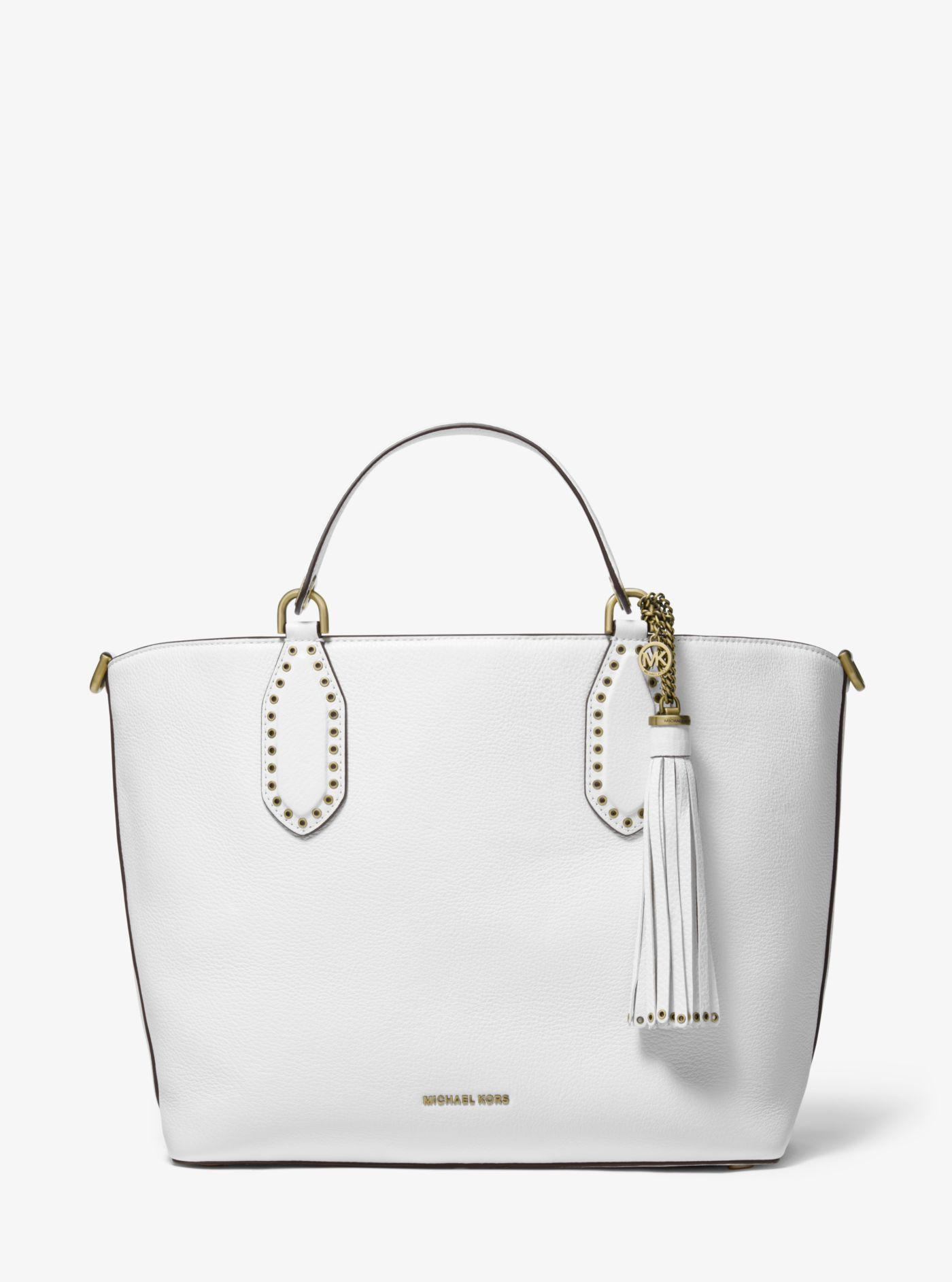 80e06f1b2c9b Michael Kors Brooklyn Large Pebbled Leather Satchel in White - Lyst