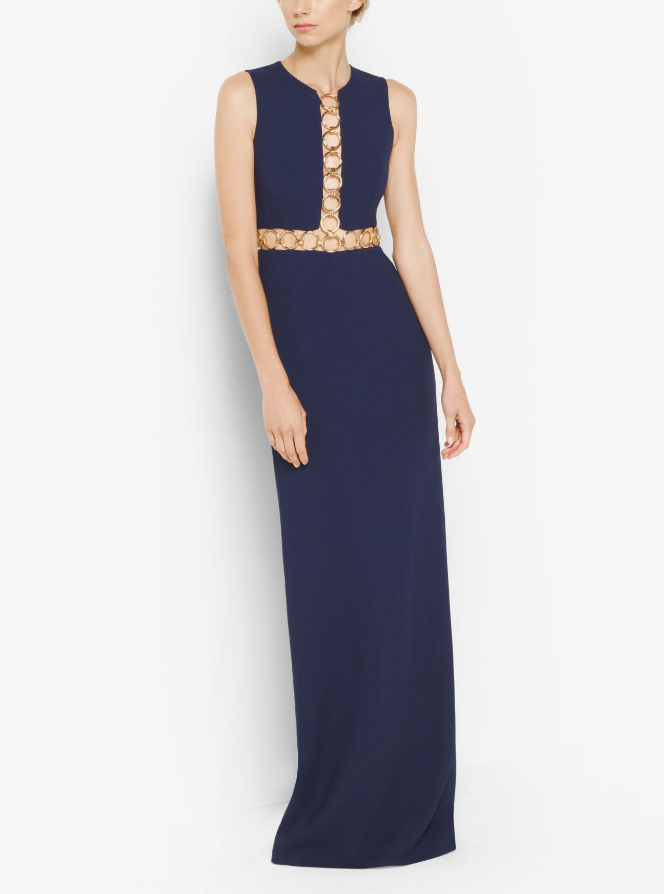 Lyst - Michael Kors Ring-detailed Double-face Crepe Sablé Gown in Blue