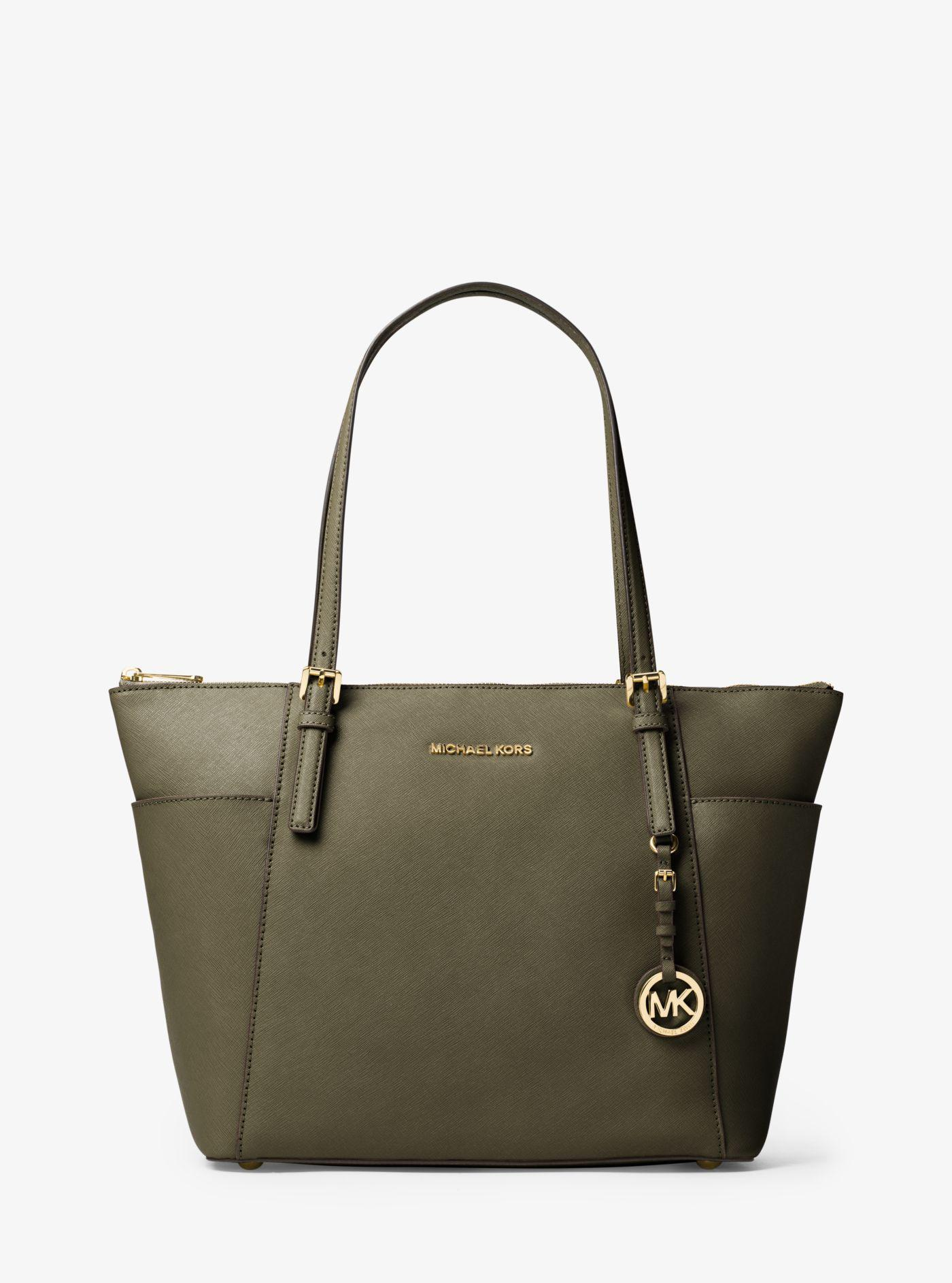 650b612d3a2a Michael Kors - Green Jet Set Large Top-zip Saffiano Leather Tote - Lyst.  View fullscreen
