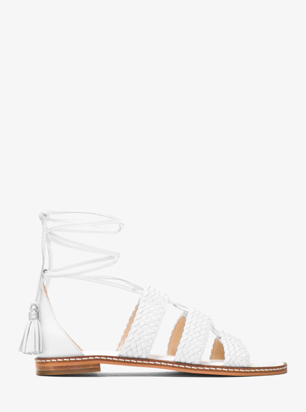 839daaae63f Lyst - Michael Kors Monterey Gladiator Leather Lace-up Sandal in White