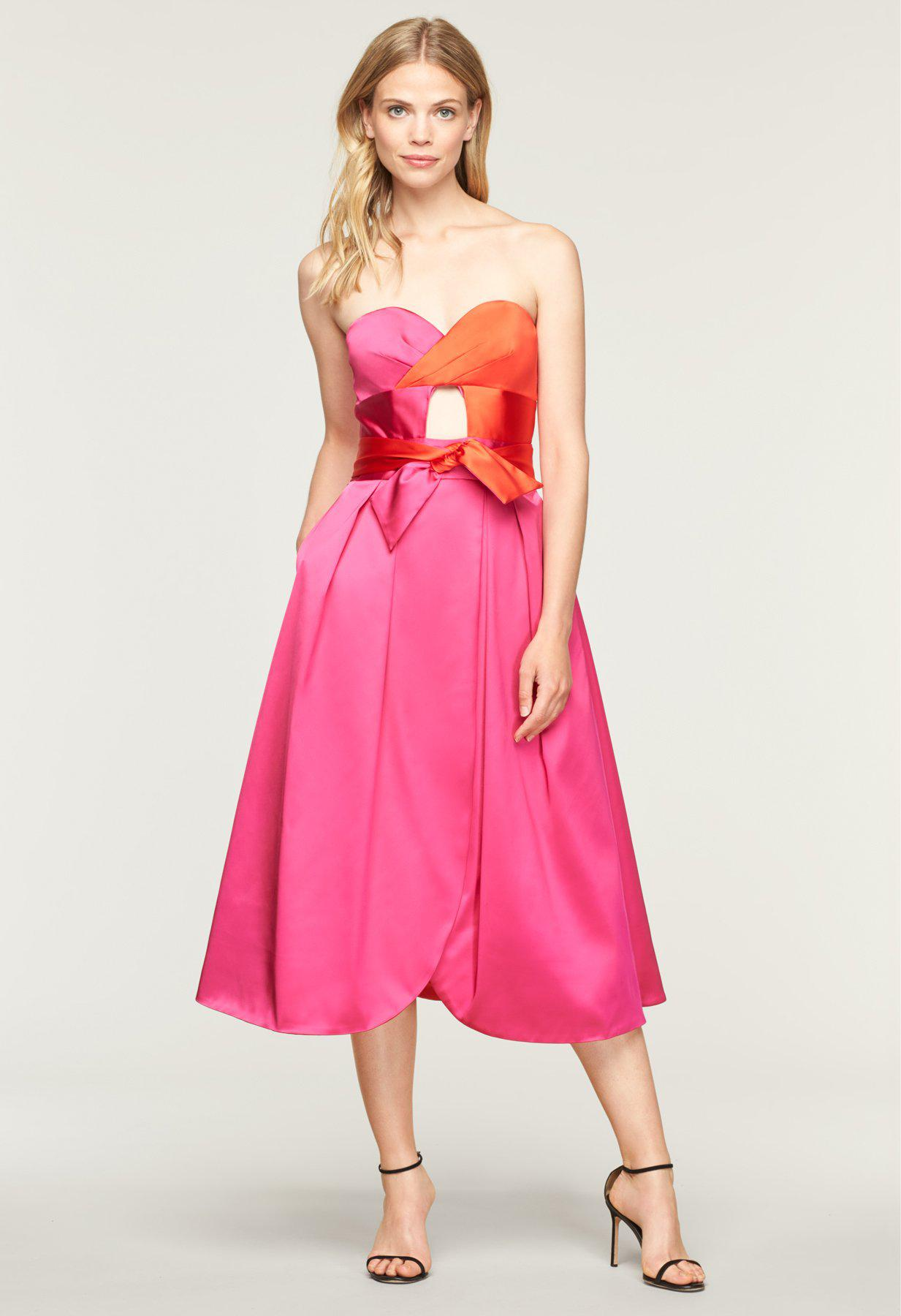 1f96dee7648c MILLY Stretch Satin Haley Dress in Pink - Save 50% - Lyst