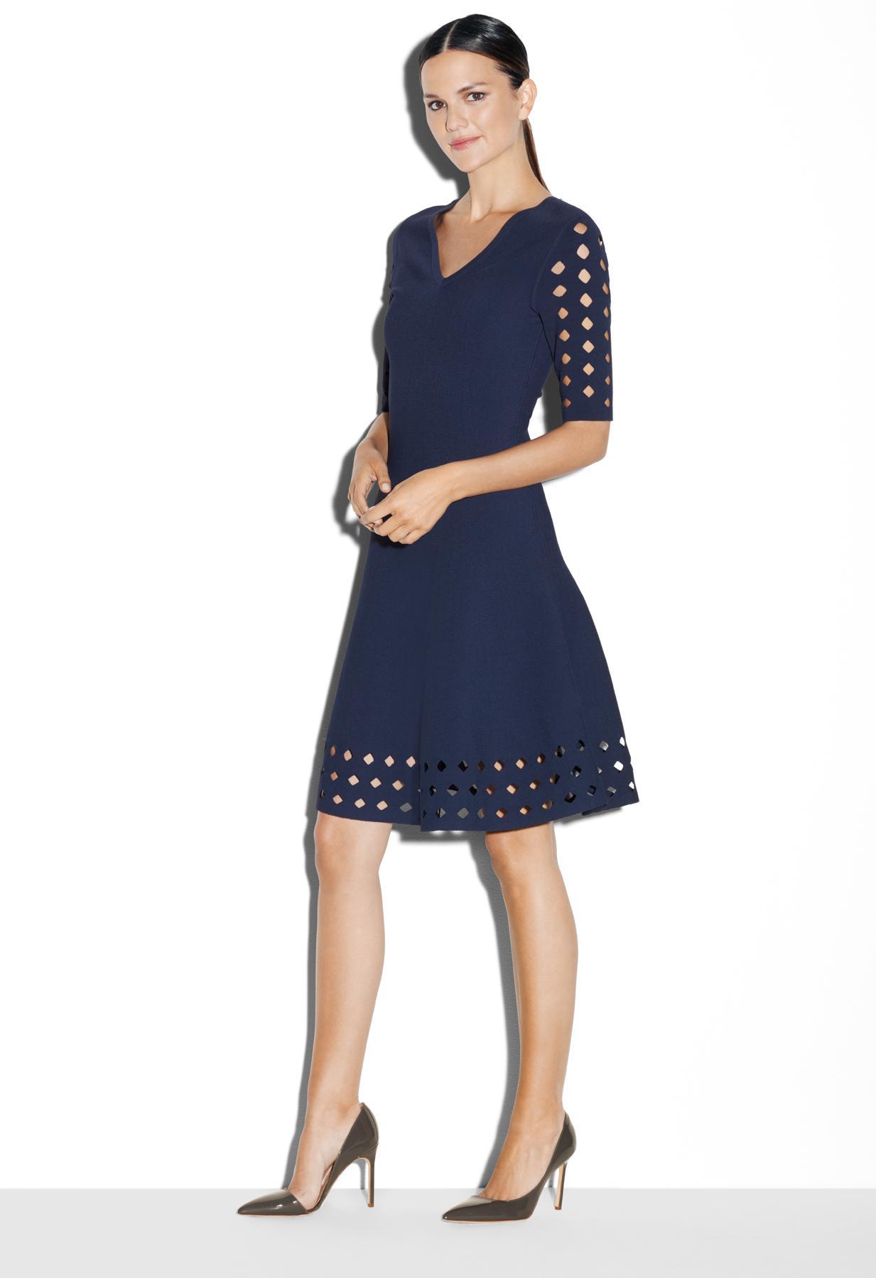 Lyst Milly Diamond Pointelle Flare Dress In Blue