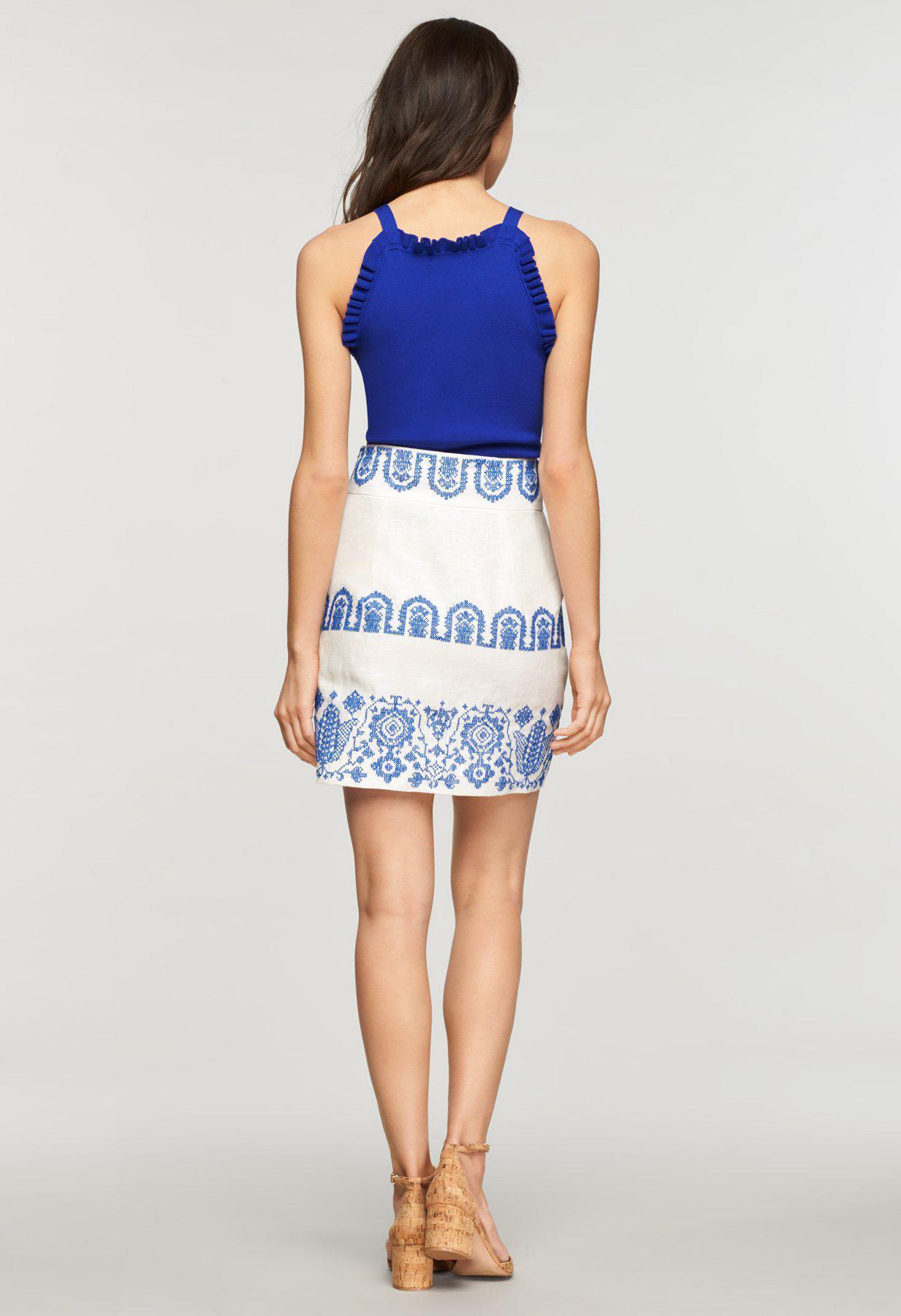 34037b32098 MILLY - Blue Mykonos Embroidered Linen Aline Skirt - Lyst. View fullscreen
