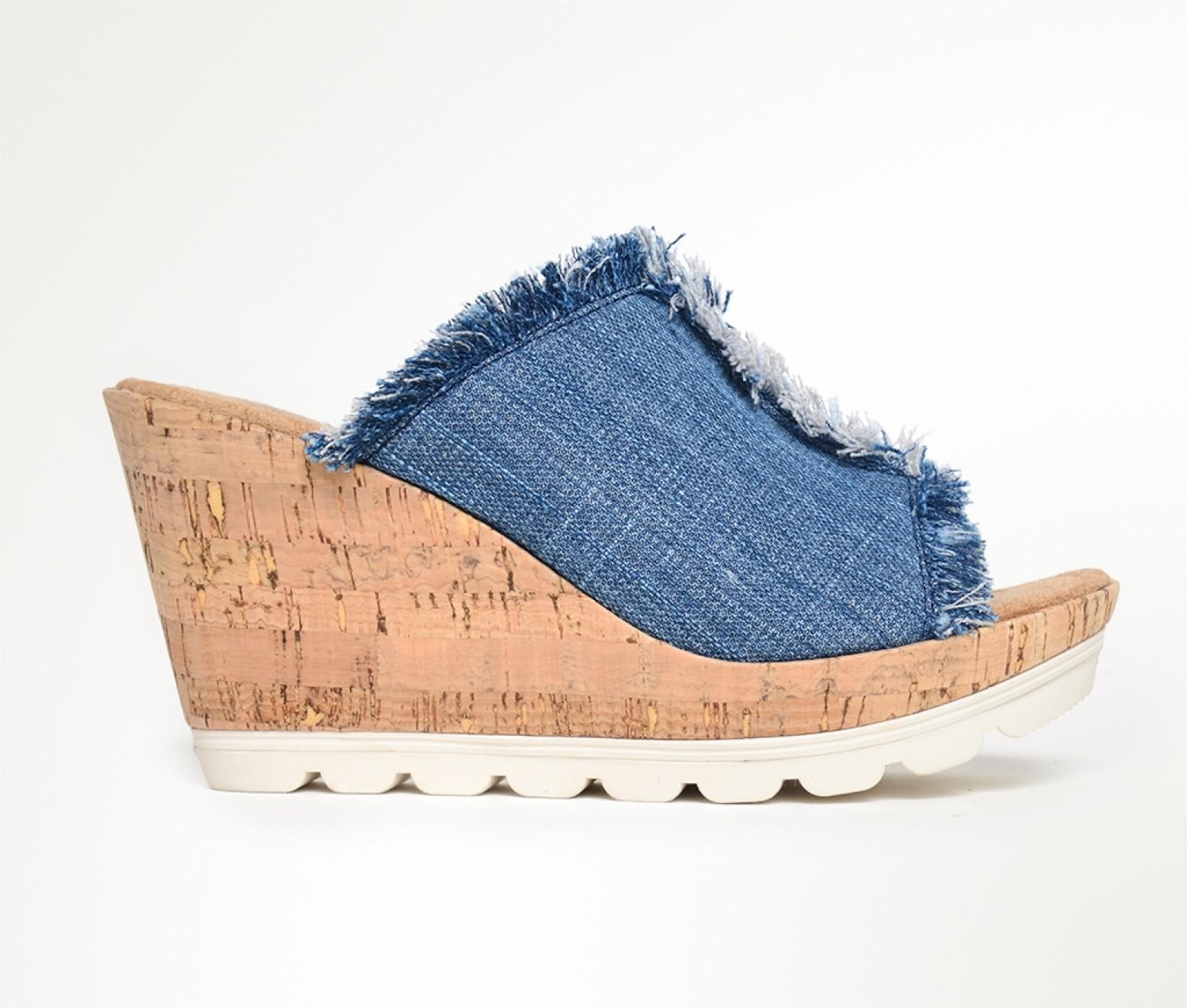 Minnetonka. Women's Blue York Denim Wedge Sandals