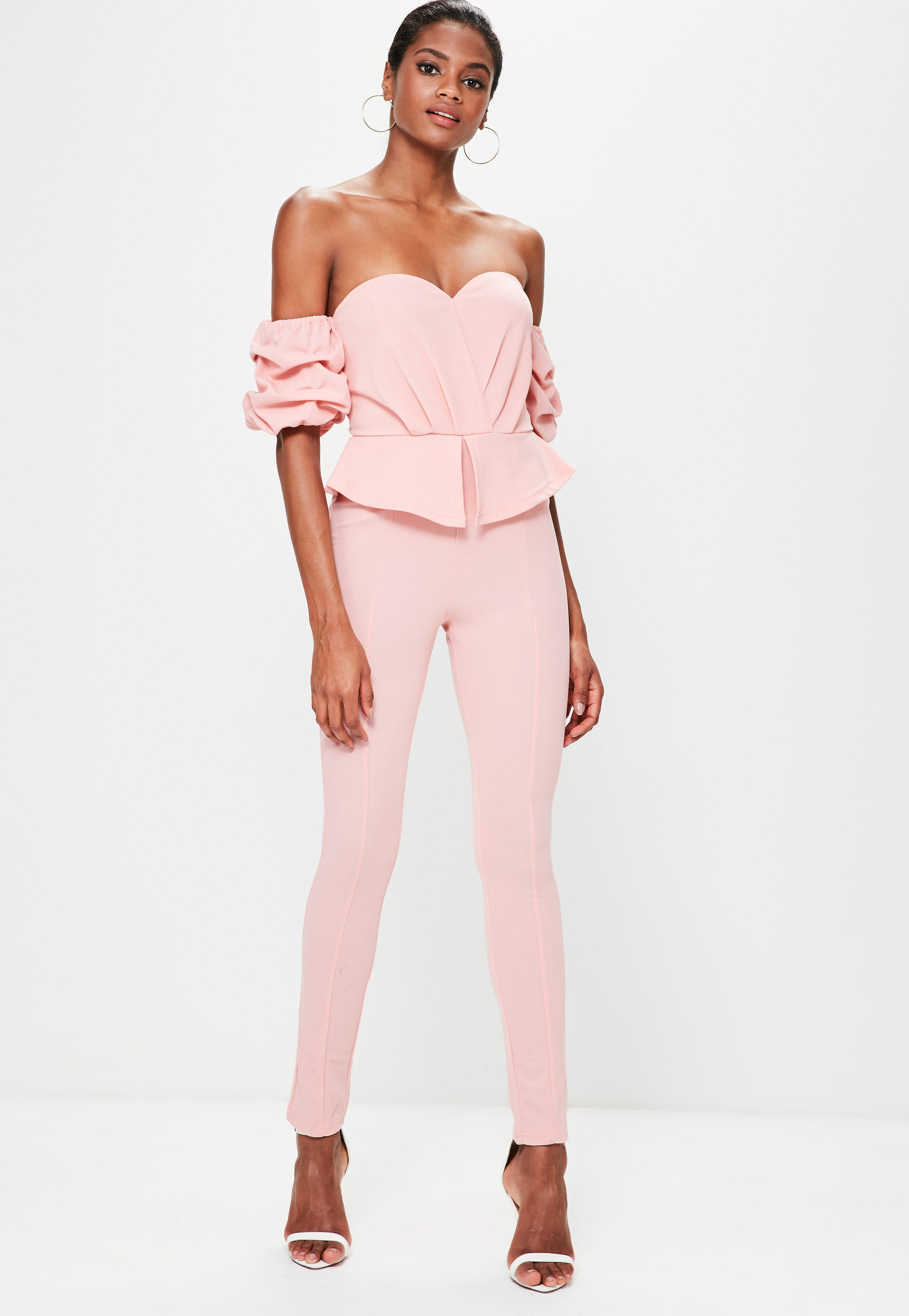 b367cac038c2 Lyst - Missguided Pink Bardot Puff Sleeve Jumpsuit in Pink