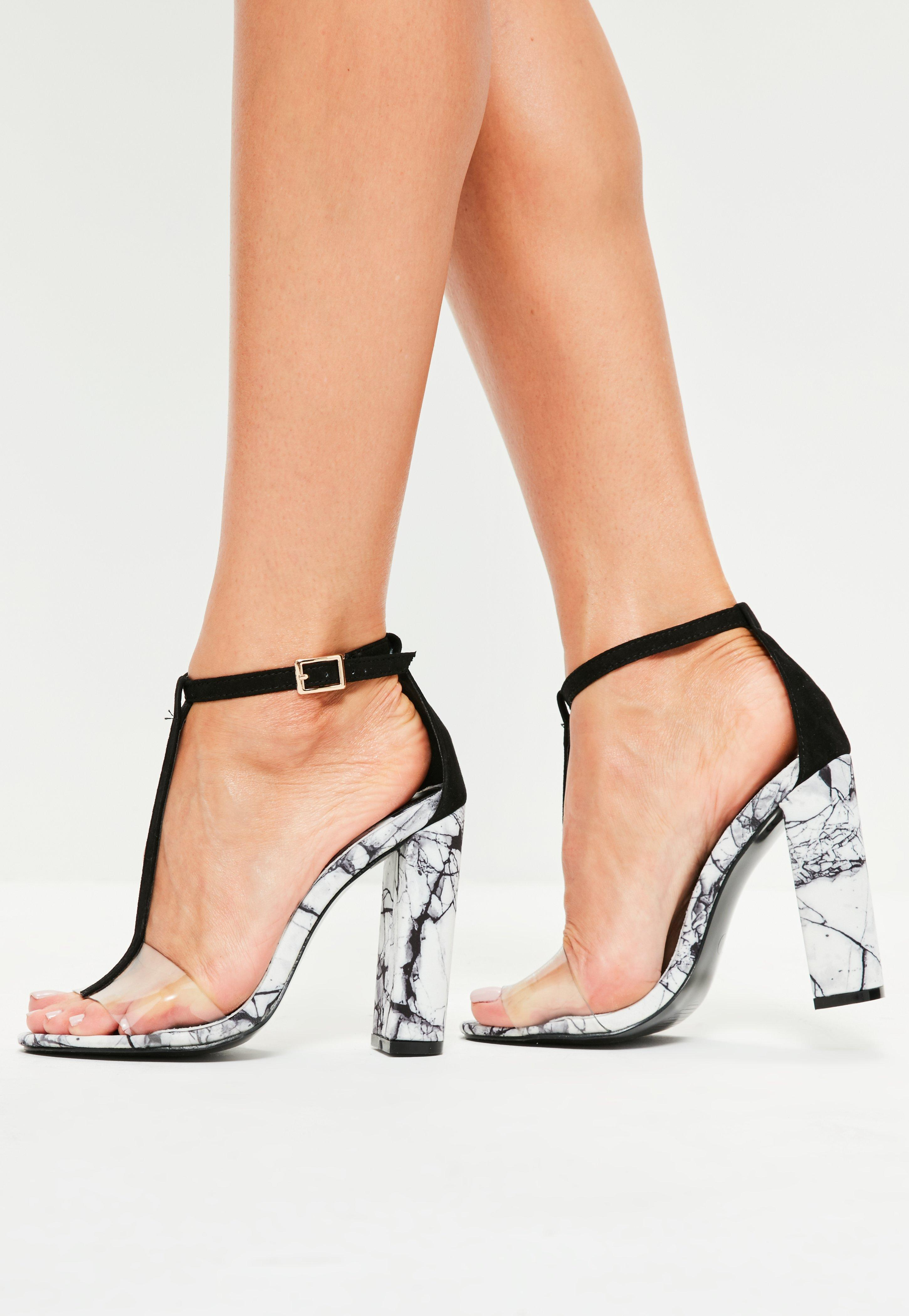 Lyst - Missguided Black Marble Finish T-bar Heeled Sandals in Black