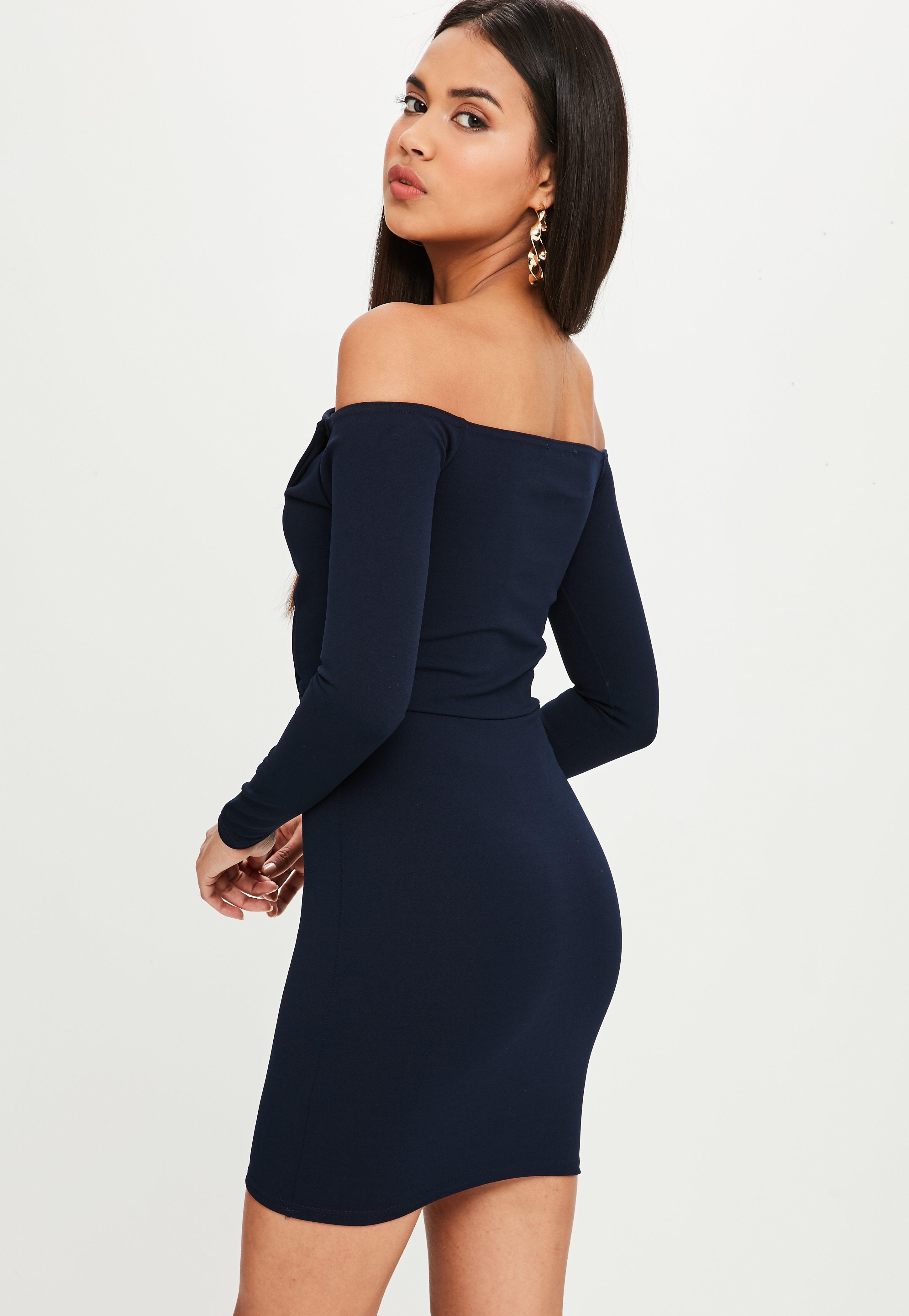 cc5e99748f Missguided - Blue Navy Bardot Foldover Wrap Dress - Lyst. View fullscreen