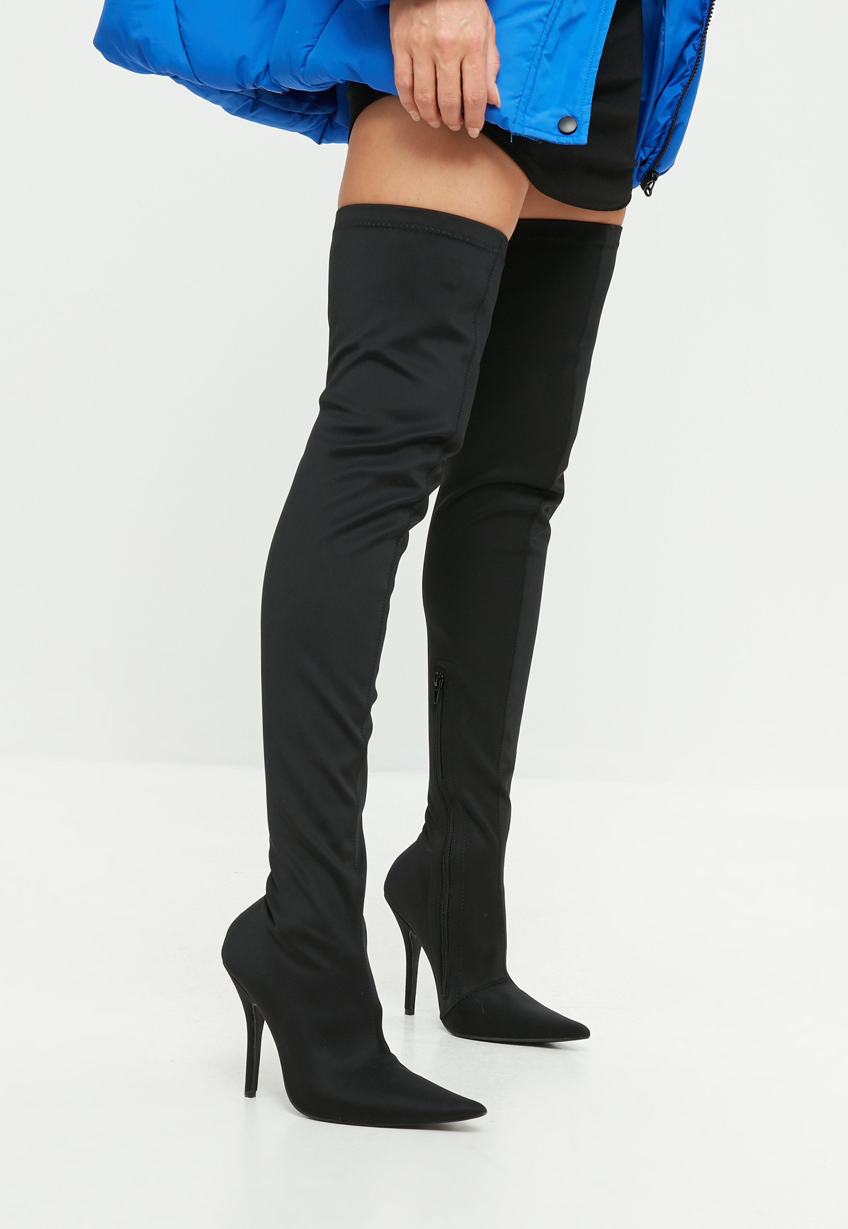 9615c7744e62 Lyst - Missguided Black Extreme Pointed Over The Knee Boots in Black