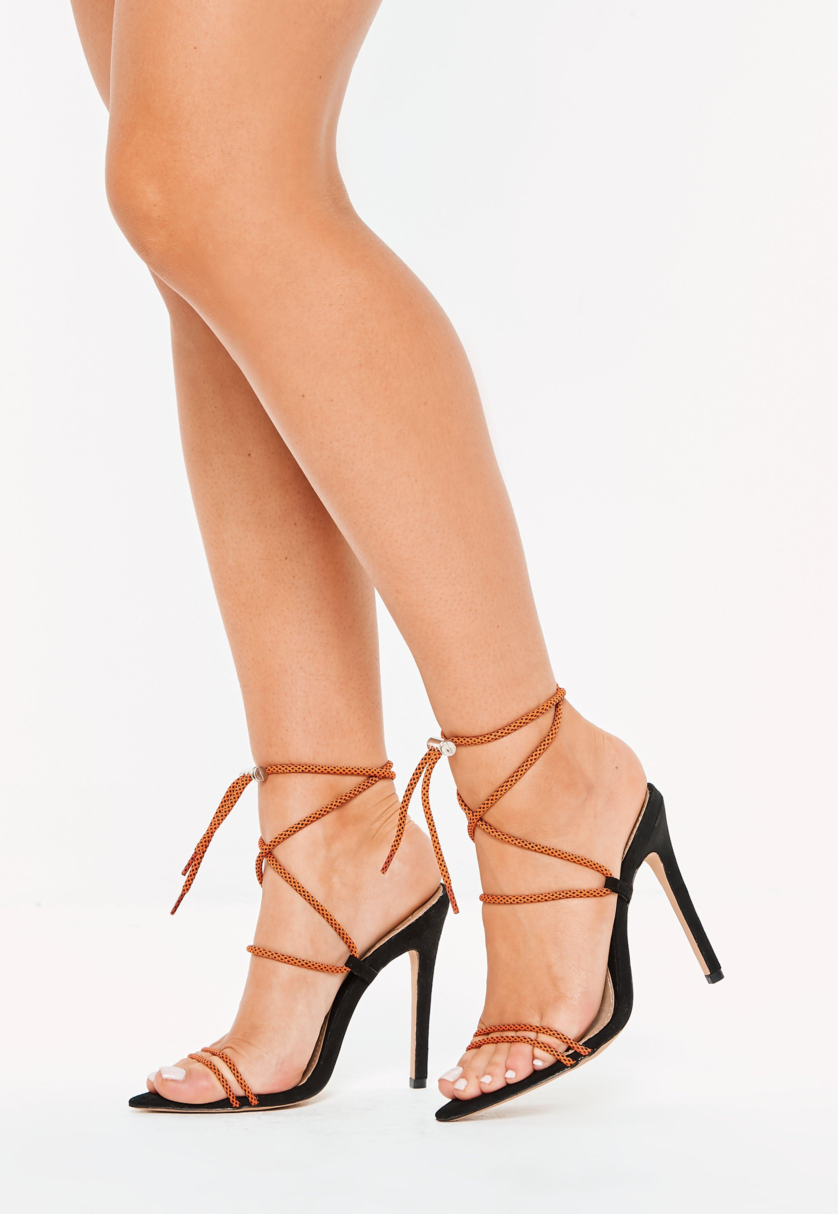 c055e9cde7f1f9 Lyst - Missguided Orange Rope Pointed Toe Heeled Sandals in Orange
