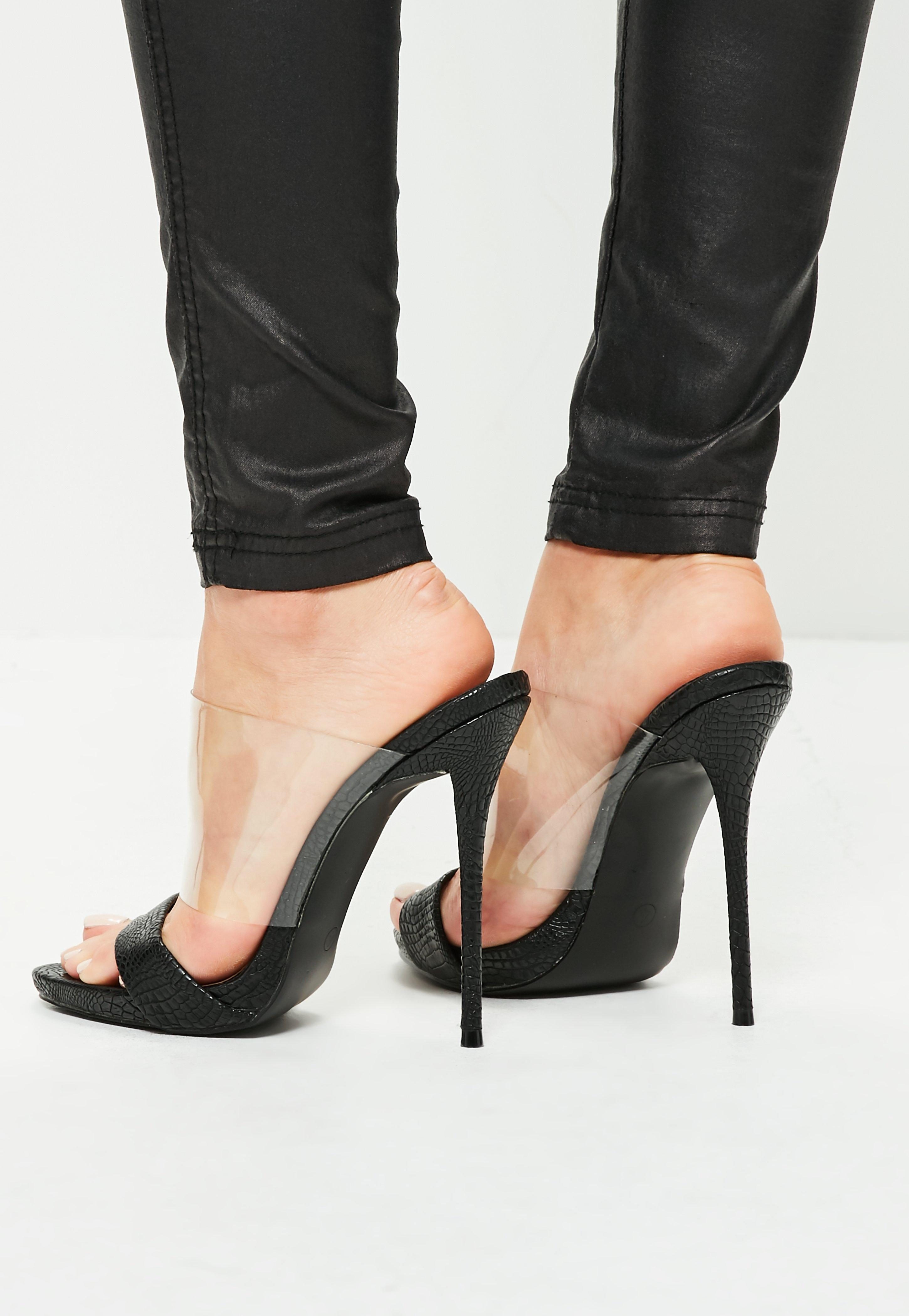 Lyst Missguided Black Clear And Snake High Heel Mules In Black
