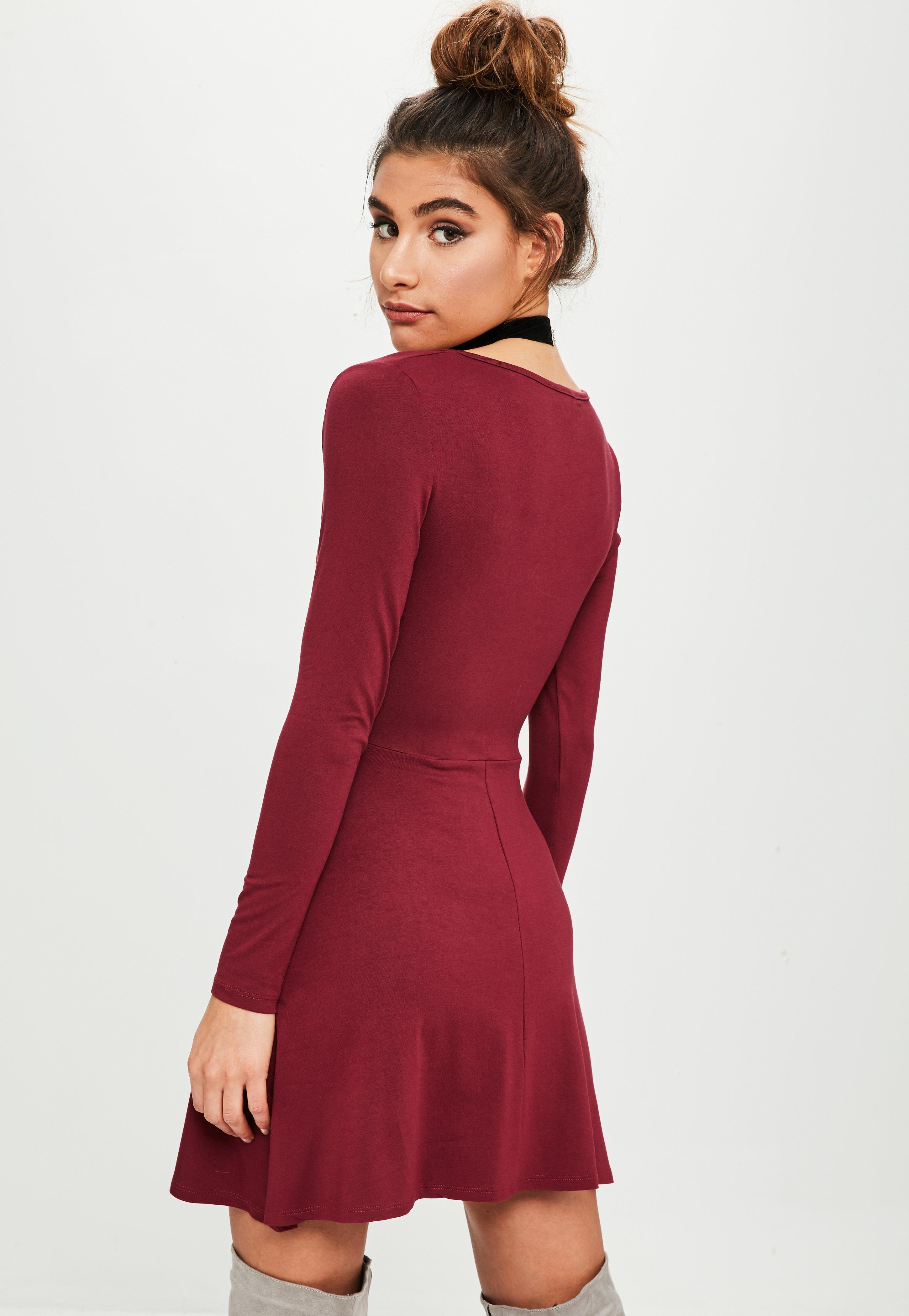 e53662a56601 Lyst - Missguided Burgundy Long Sleeve Jersey Skater Dress in Red