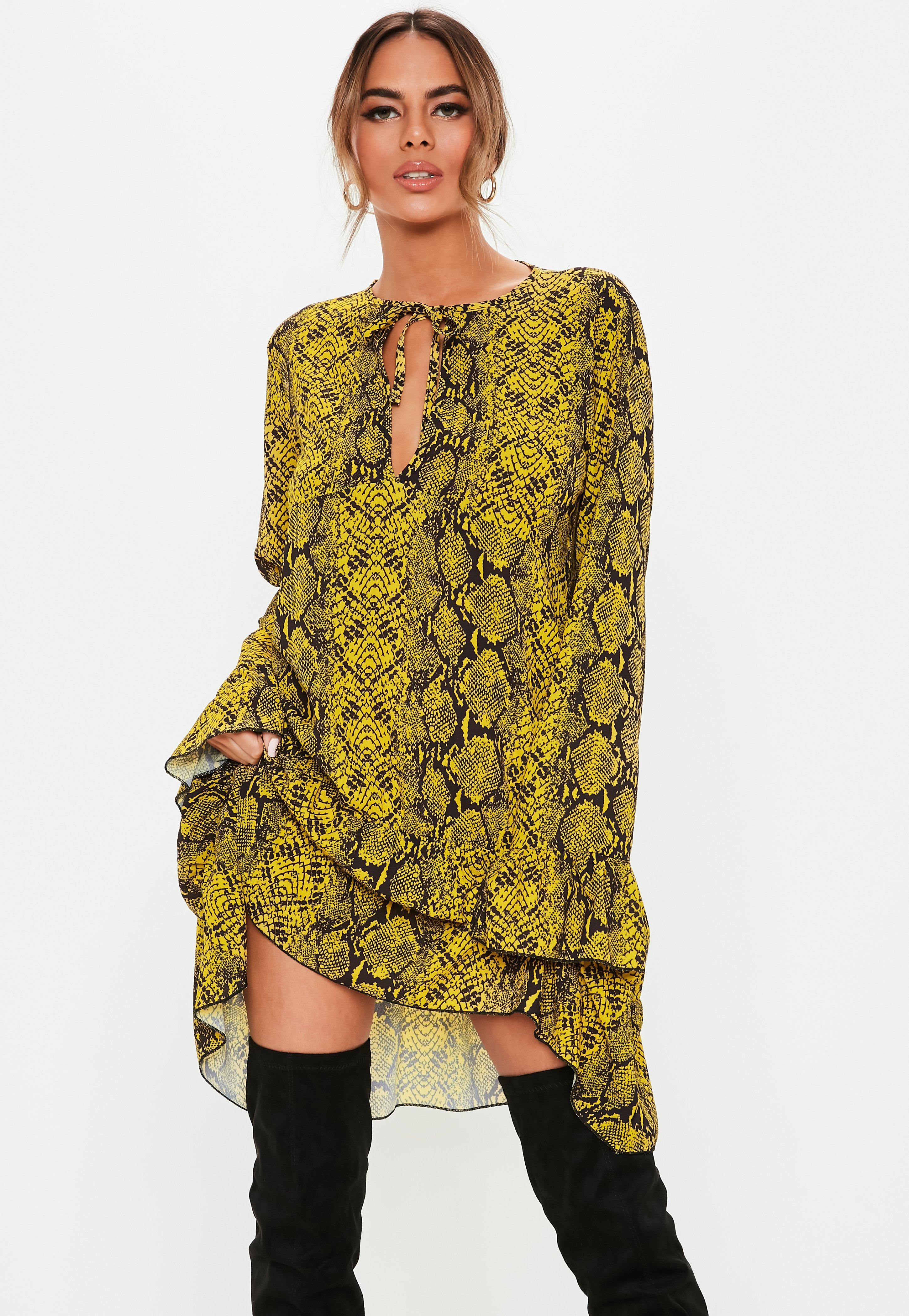 fd3ca08e39 Lyst - Missguided Yellow Snake Print Tie Neck Smock Dress in Yellow
