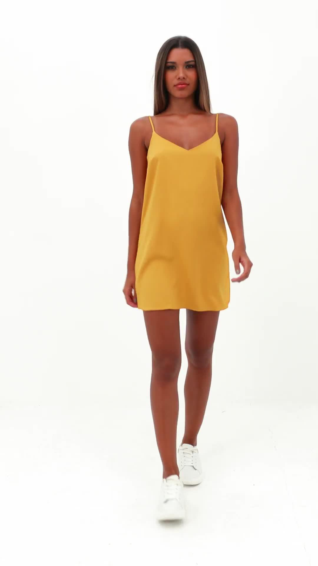 36a342941f Missguided Tall Mustard Crepe Cami Shift Dress in Yellow - Lyst