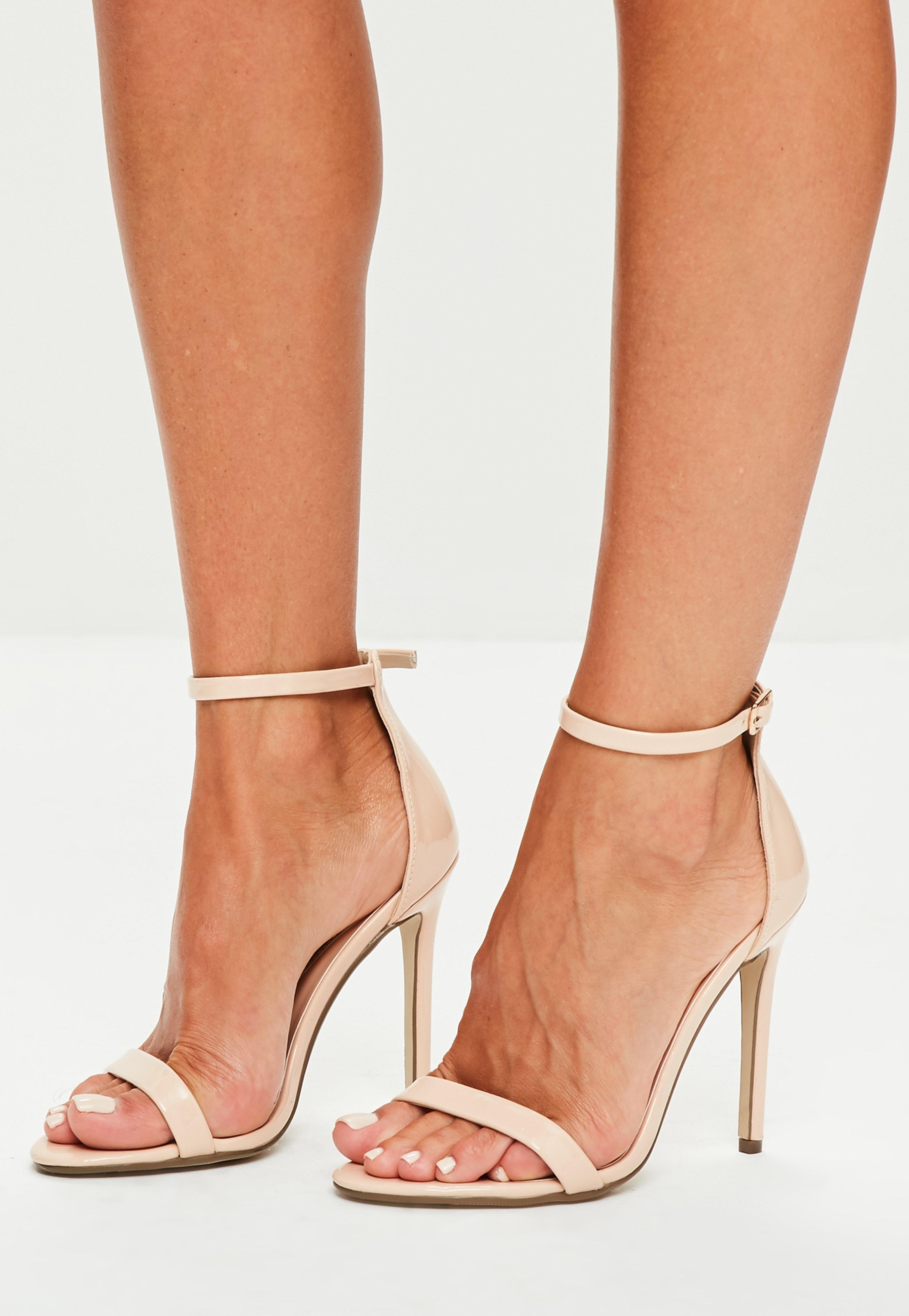 5aa53612c471 Missguided Nude Patent Ankle Strap Heels in Natural - Lyst