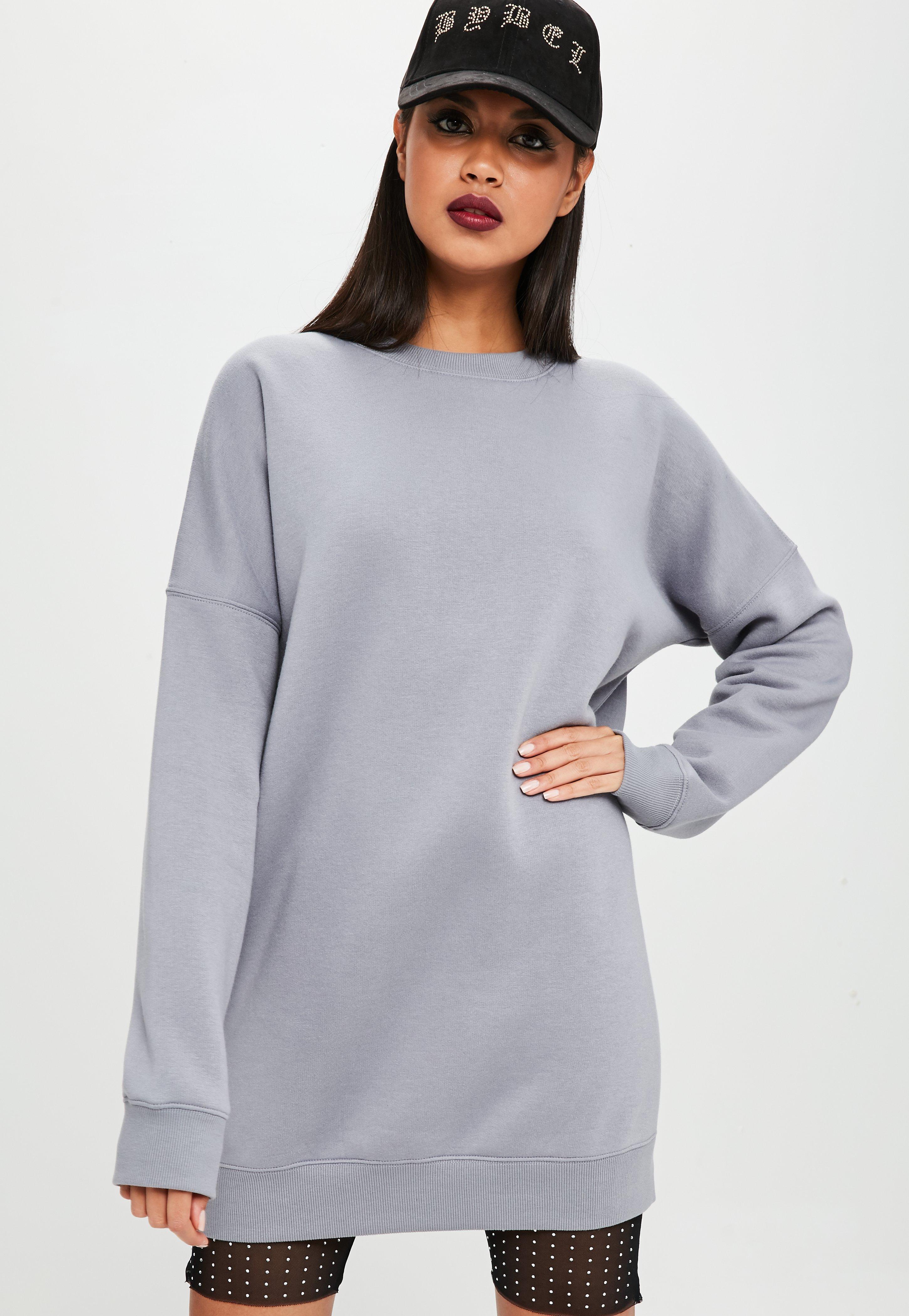 f598f88edb Lyst - Missguided Carli Bybel X Grey Oversized Jumper Dress in Gray