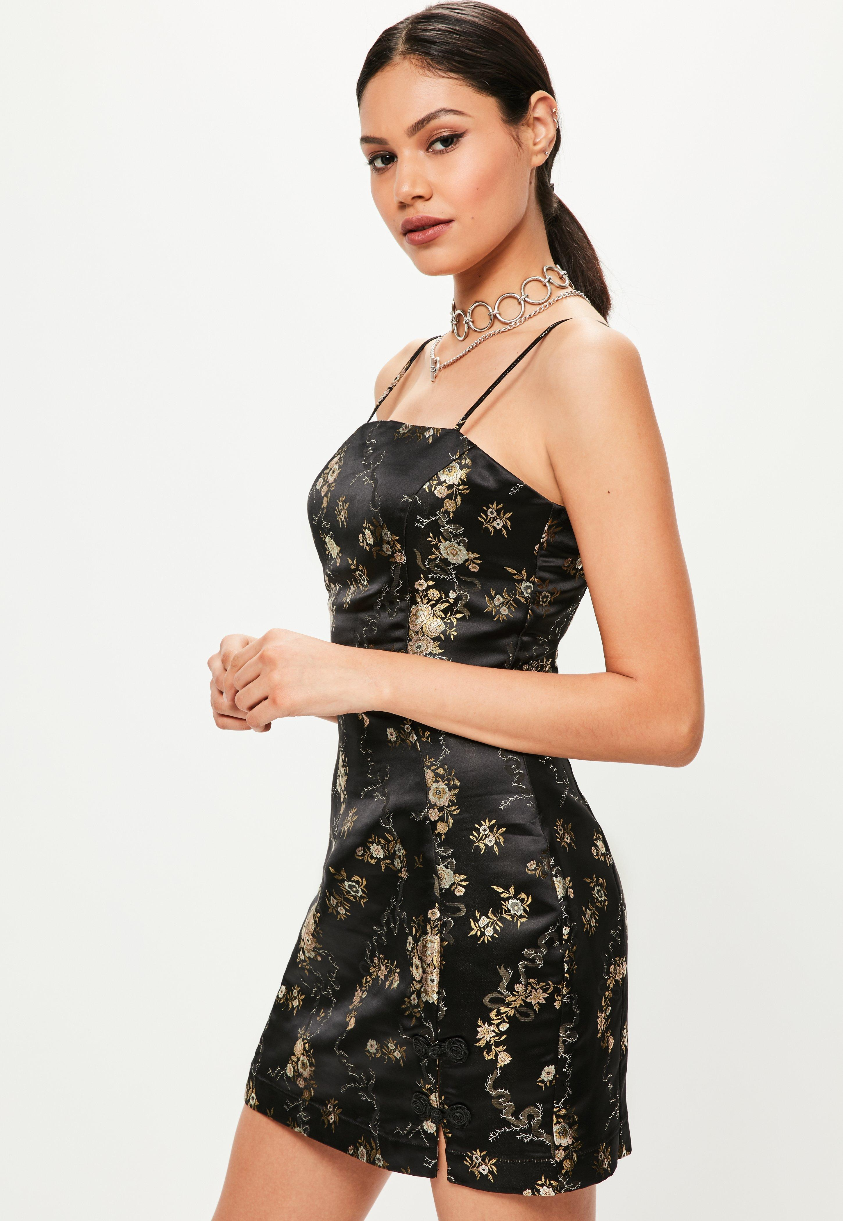 Missguided Black Silky Brocade Square Neck Bodycon Dress