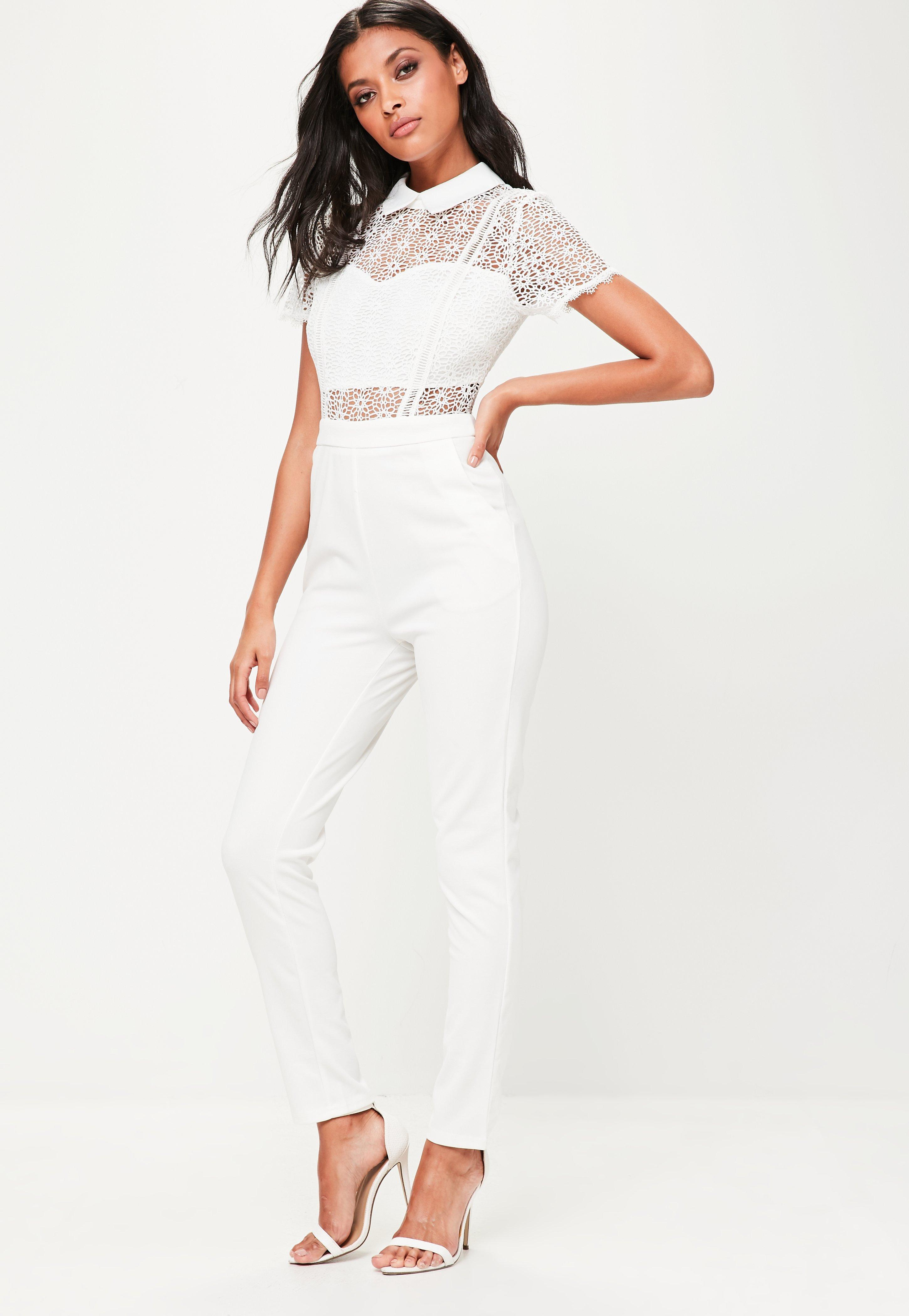 d0e397223e11 Lyst - Missguided White Lace Collared Jumpsuit in White