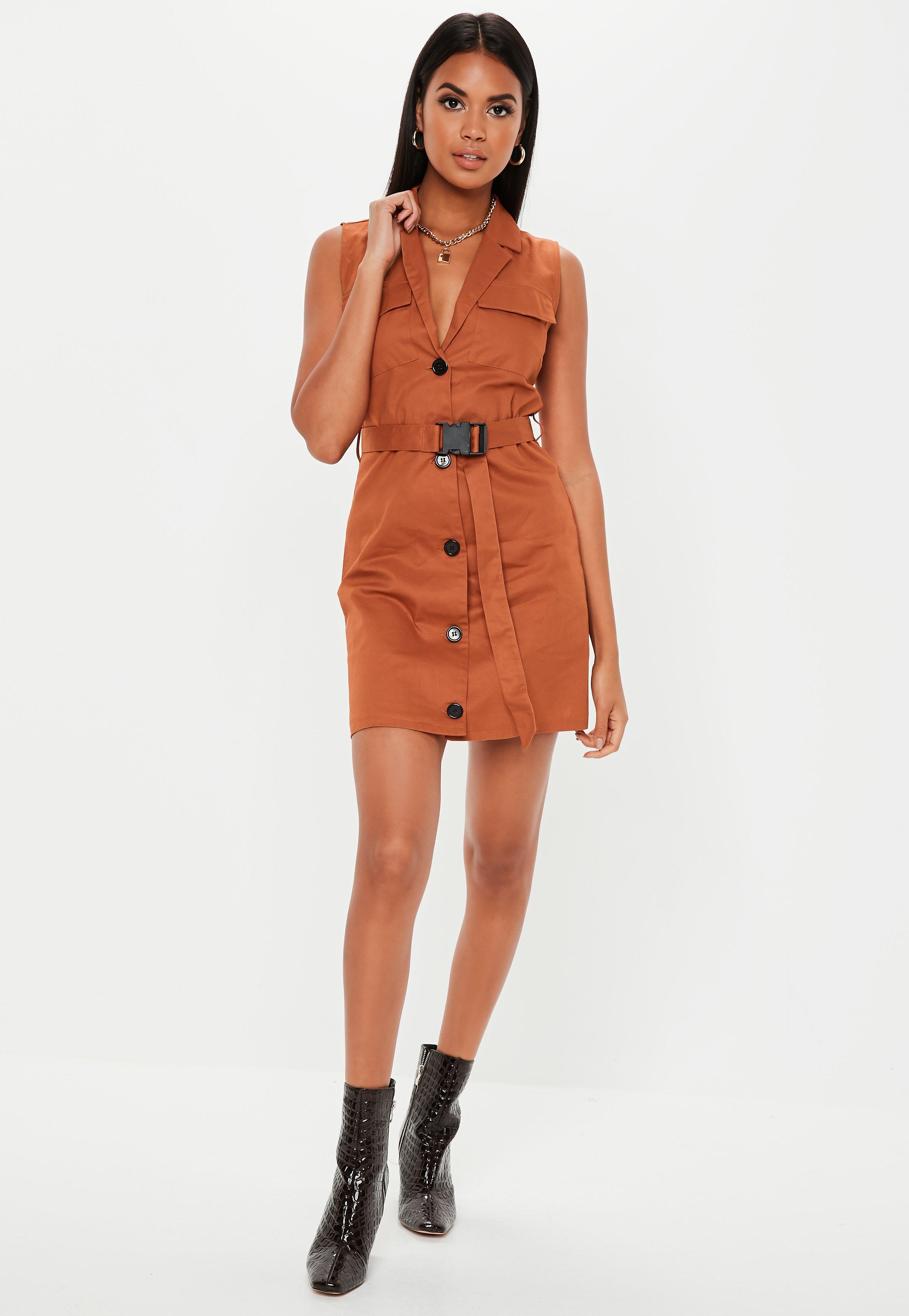 dae168beb8df76 Lyst - Missguided Rust Sleeveless Belted Blazer Dress in Orange