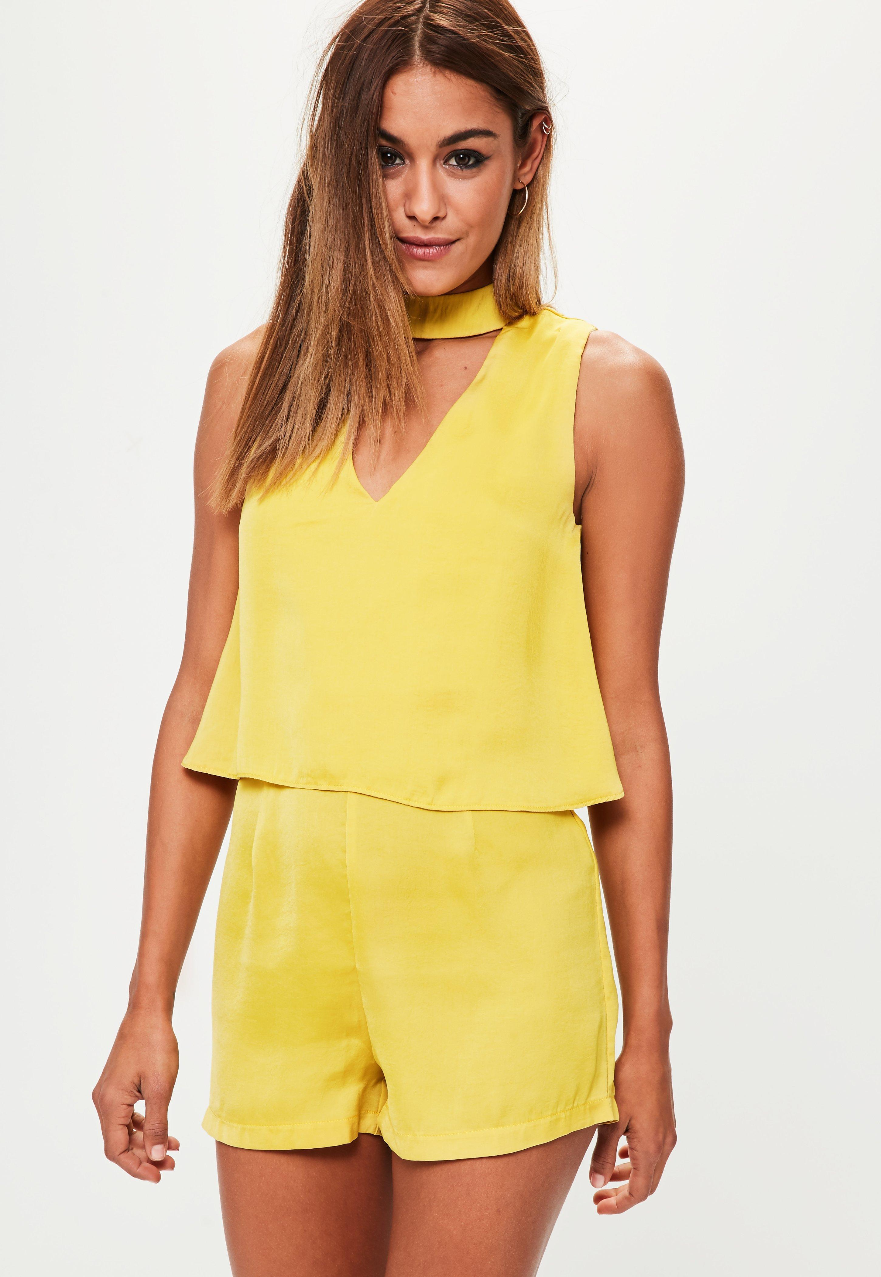 f311041e96c4 Lyst - Missguided Yellow Double Layer Choker Playsuit in Yellow
