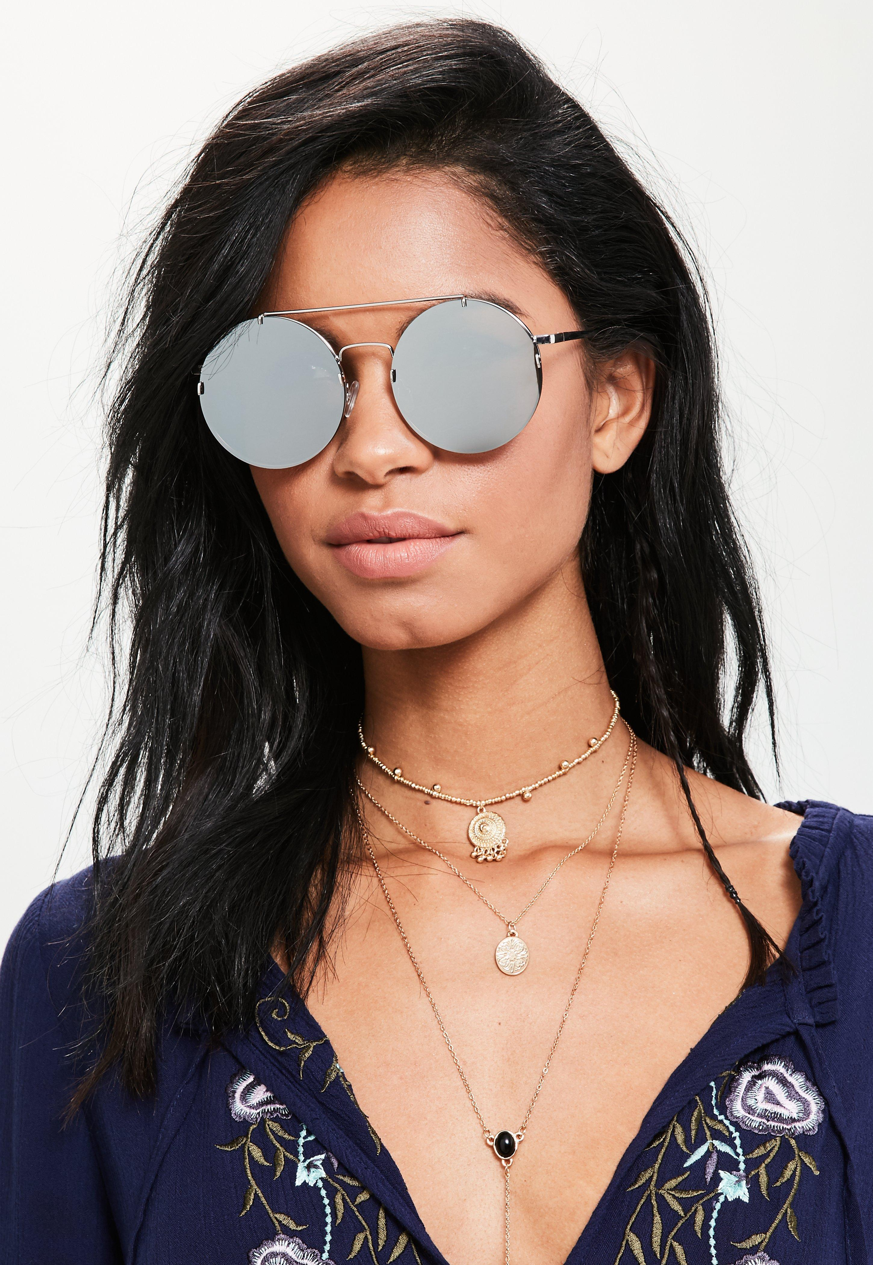 ed9f6ee5e1b Missguided Silver Round Flat Lens Top Bar Sunglasses in Metallic - Lyst