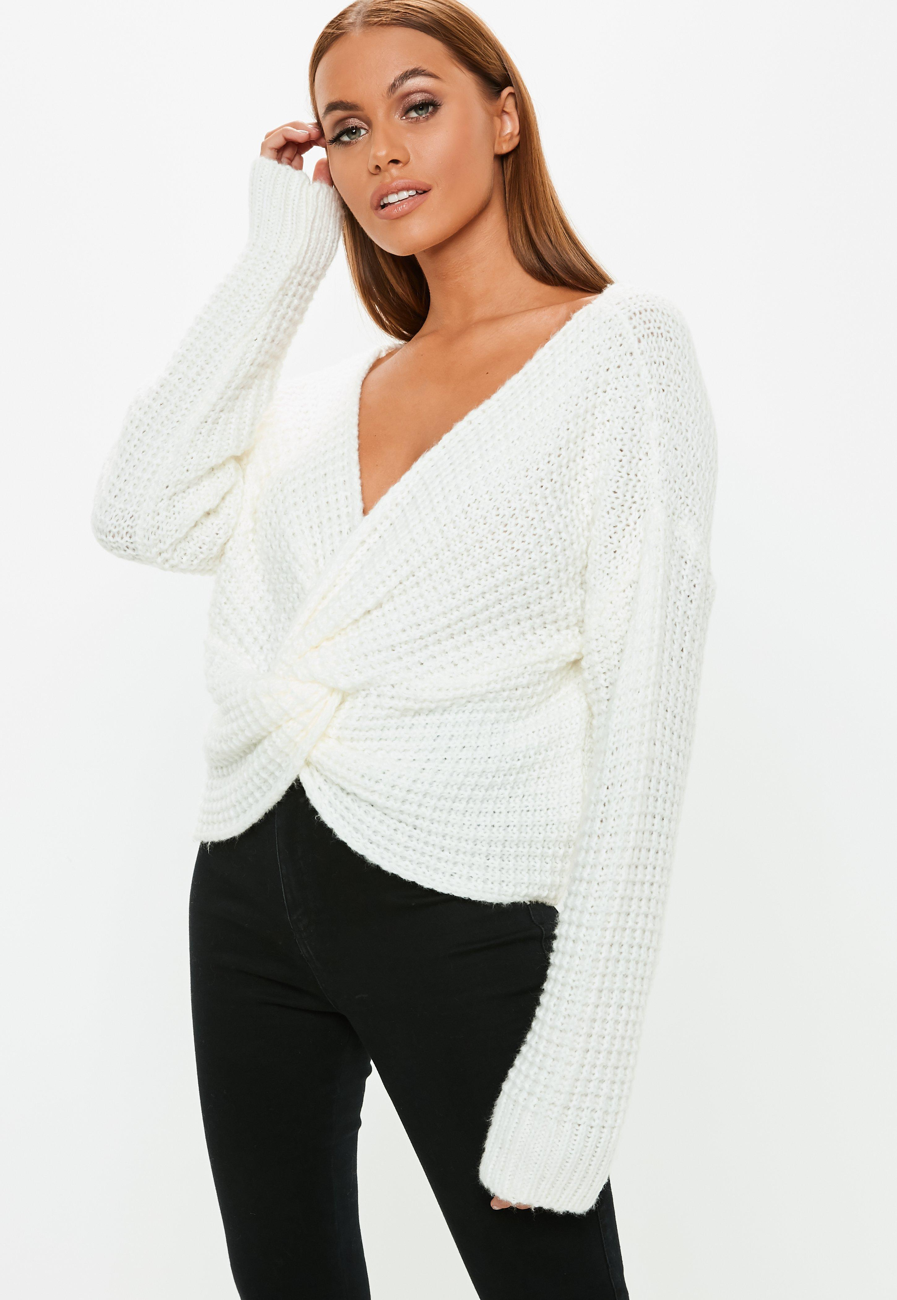d75777de Knitted Knitted Knitted Front Missguided Jumper Jumper Jumper Jumper Cream  Lyst Twist R1OzqwIw