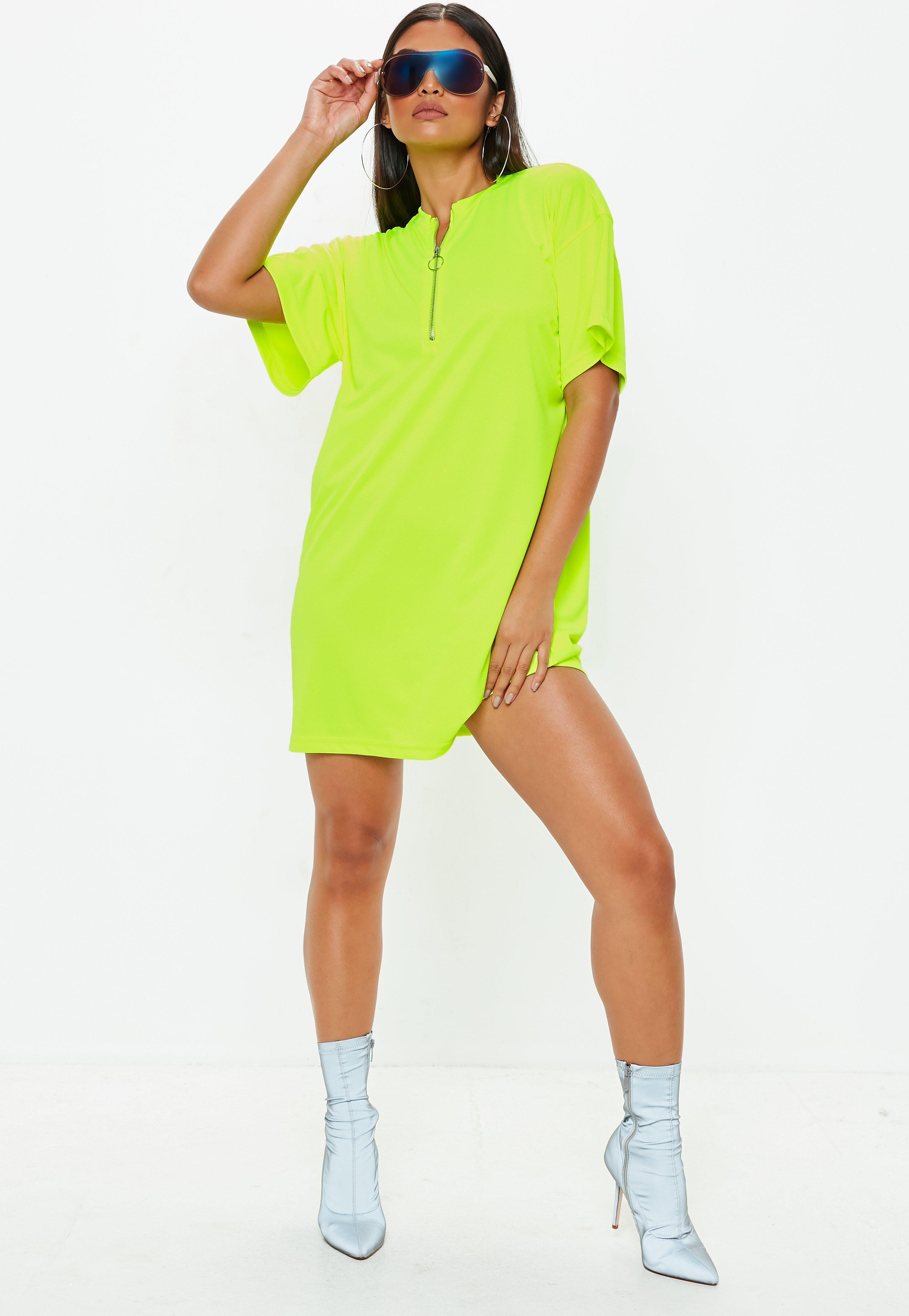 12d0a7c36047 Lyst - Missguided Neon Yellow Oversized Zip Front T-shirt Dress in ...