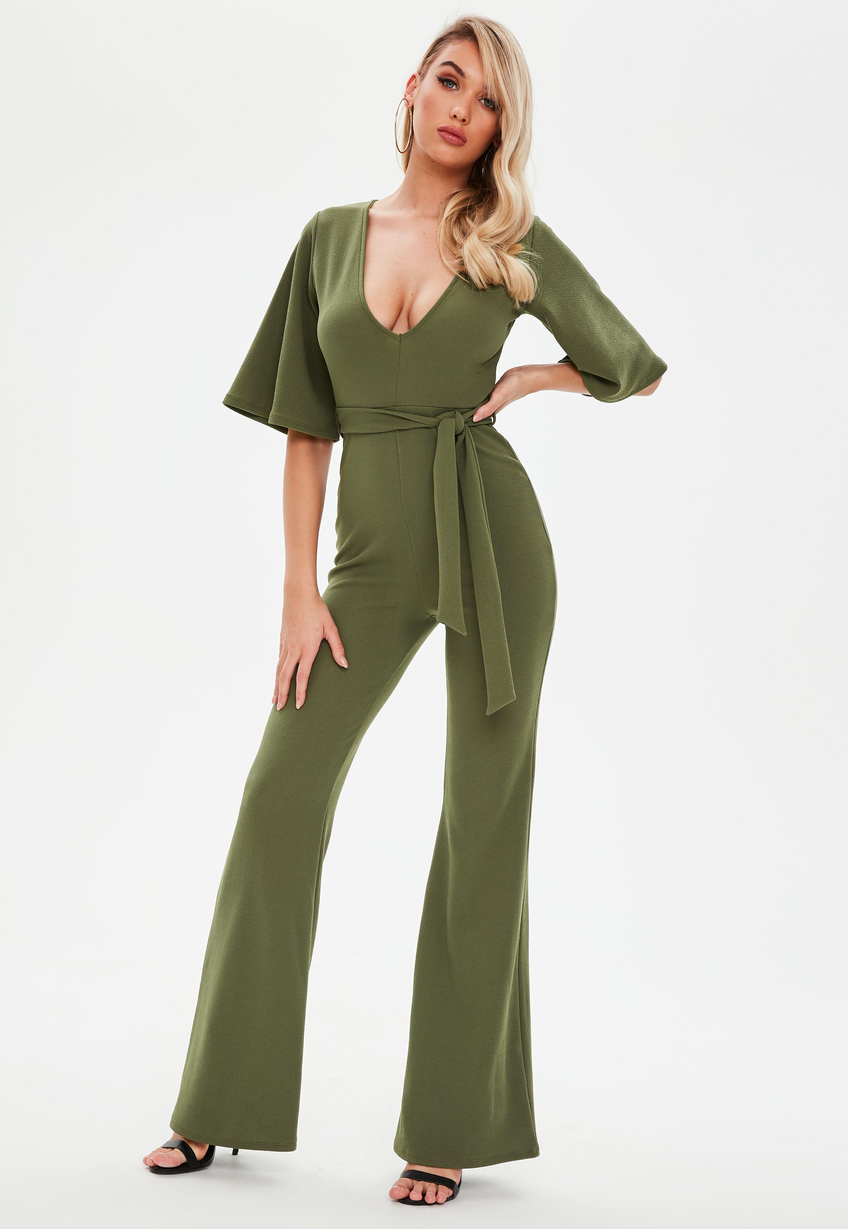 42243f76446 Lyst - Missguided Khaki Plunge Kimono Sleeve Jumpsuit in Green