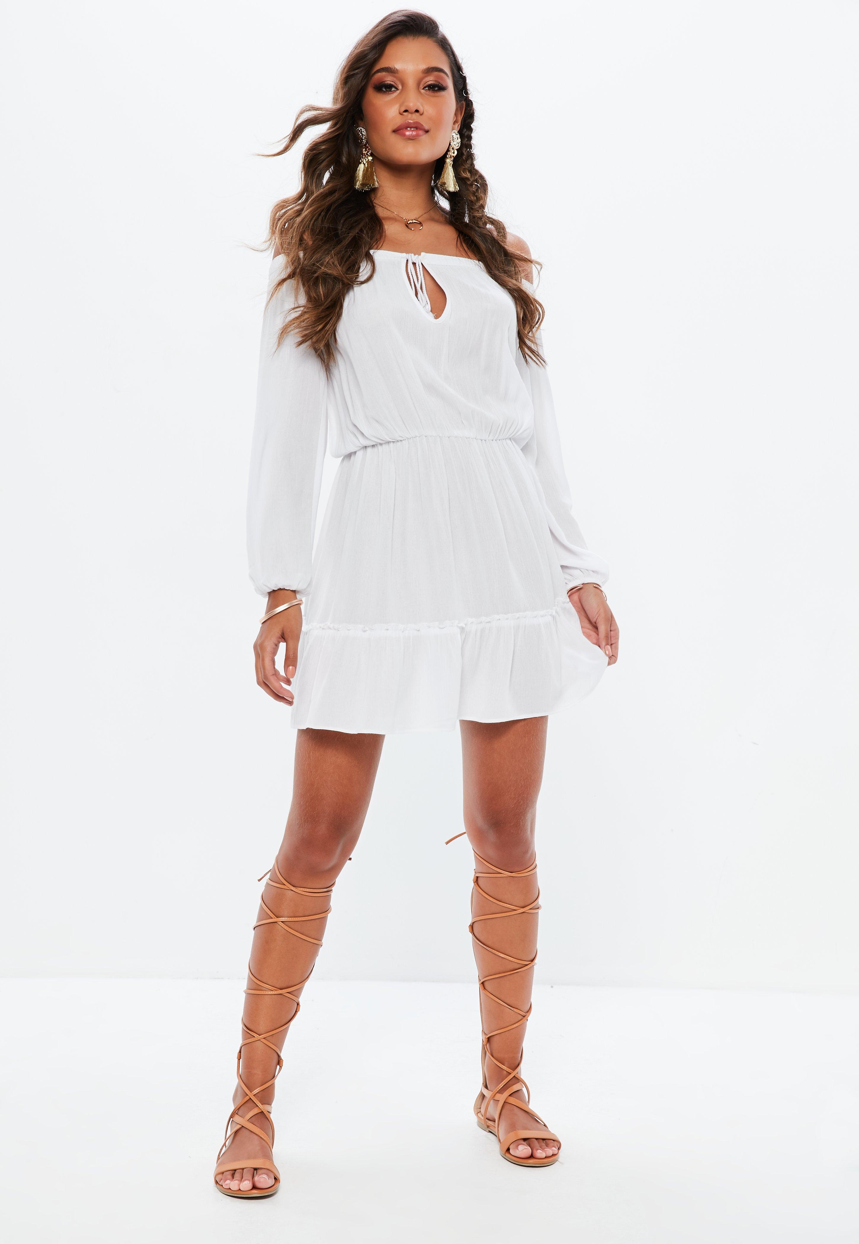 54199c8d6d Missguided - Petite White Bardot Tassel Skater Dress - Lyst. View fullscreen
