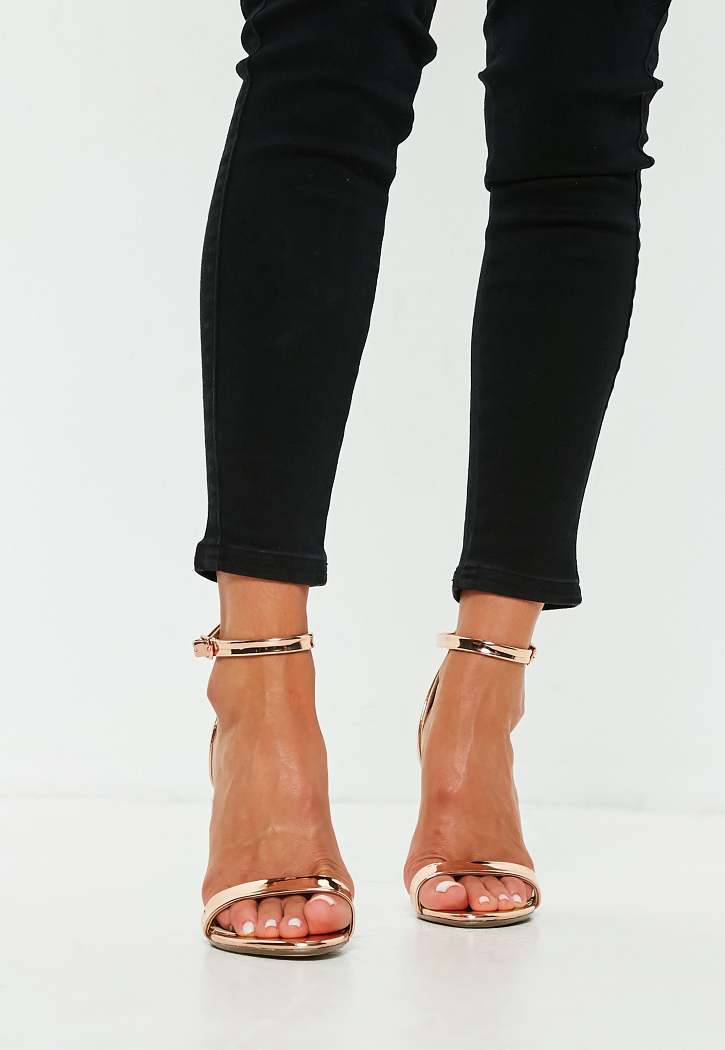 5c1b6581a28 Missguided - Black Rose Gold Flared Block Barely There Heels - Lyst. View  fullscreen