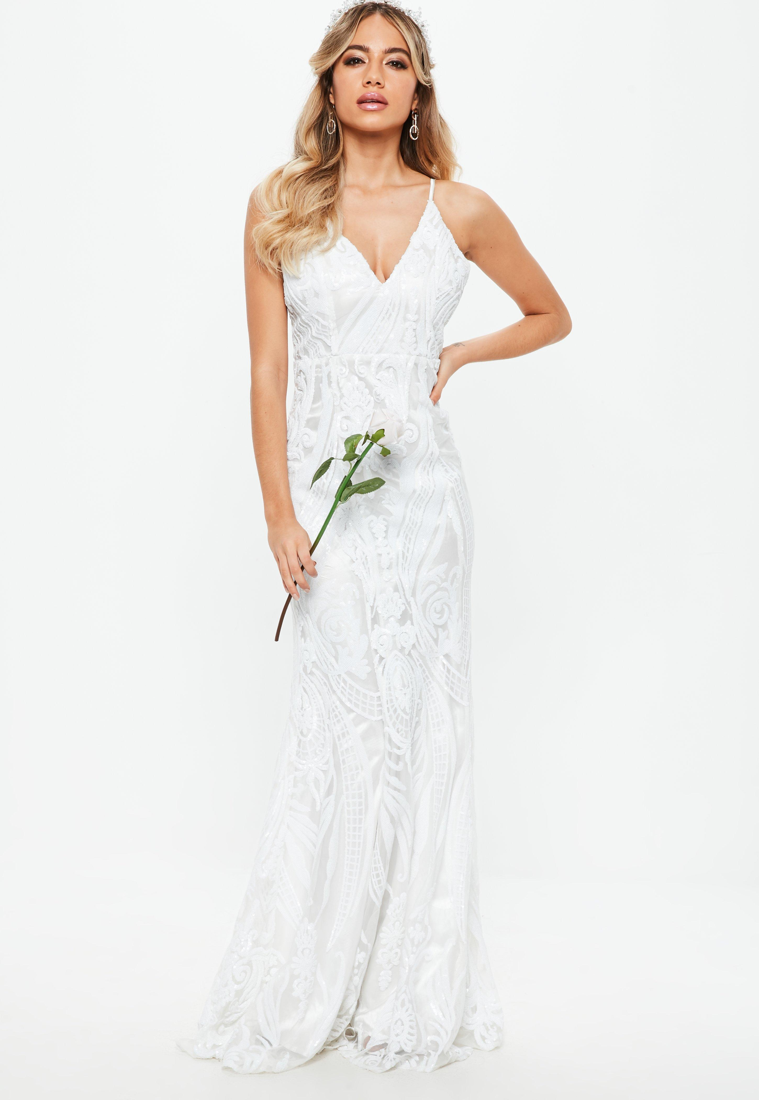 Lyst - Missguided Bridal White Strappy Sequin Embellished Fishtail ...