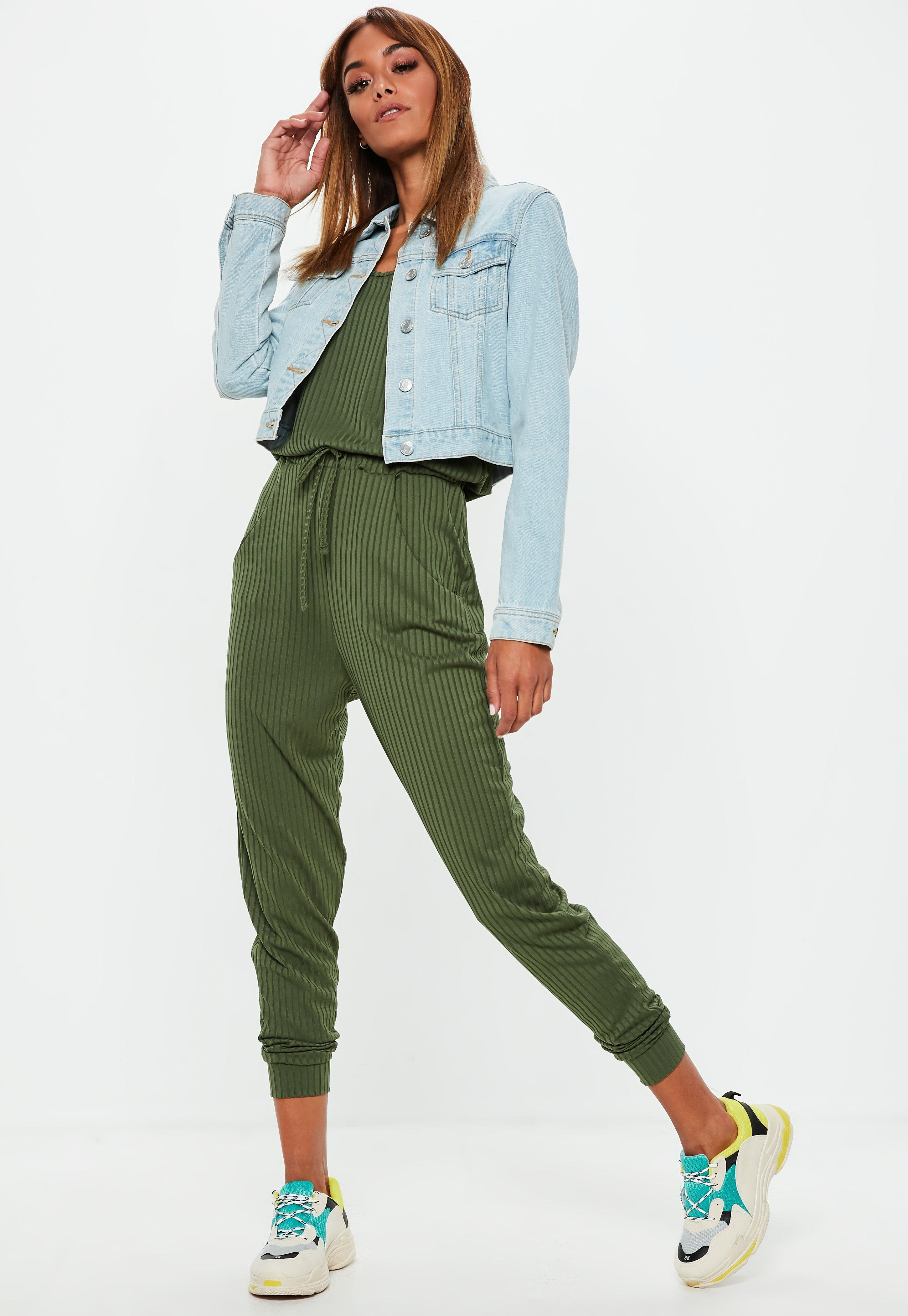 db866f237e2 Missguided - Green Khaki Sleeveless Ribbed Jersey Jumpsuit - Lyst. View  fullscreen