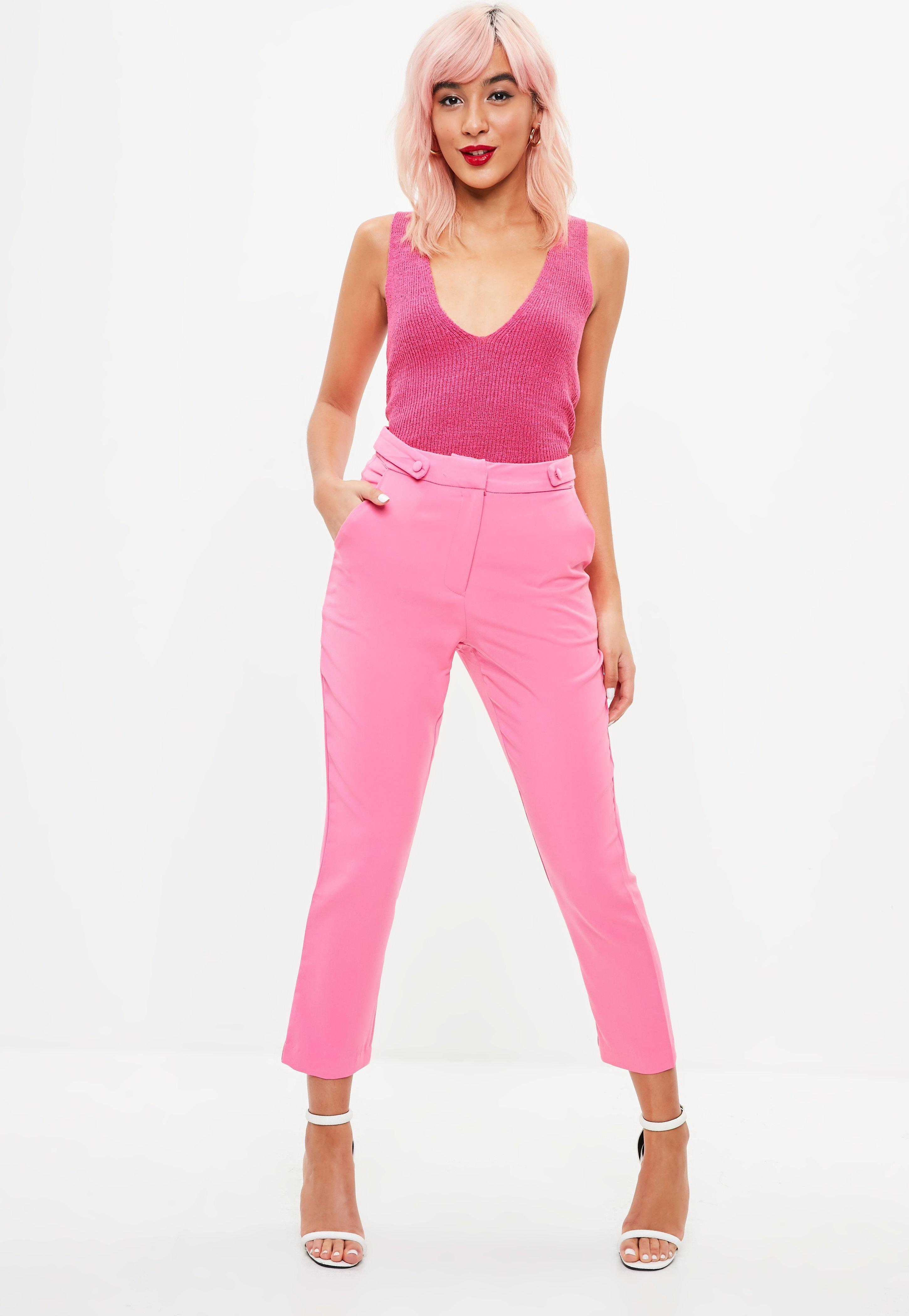 64f51e1fe0041 Missguided Pink Plunge Knitted Tank Top in Pink - Lyst