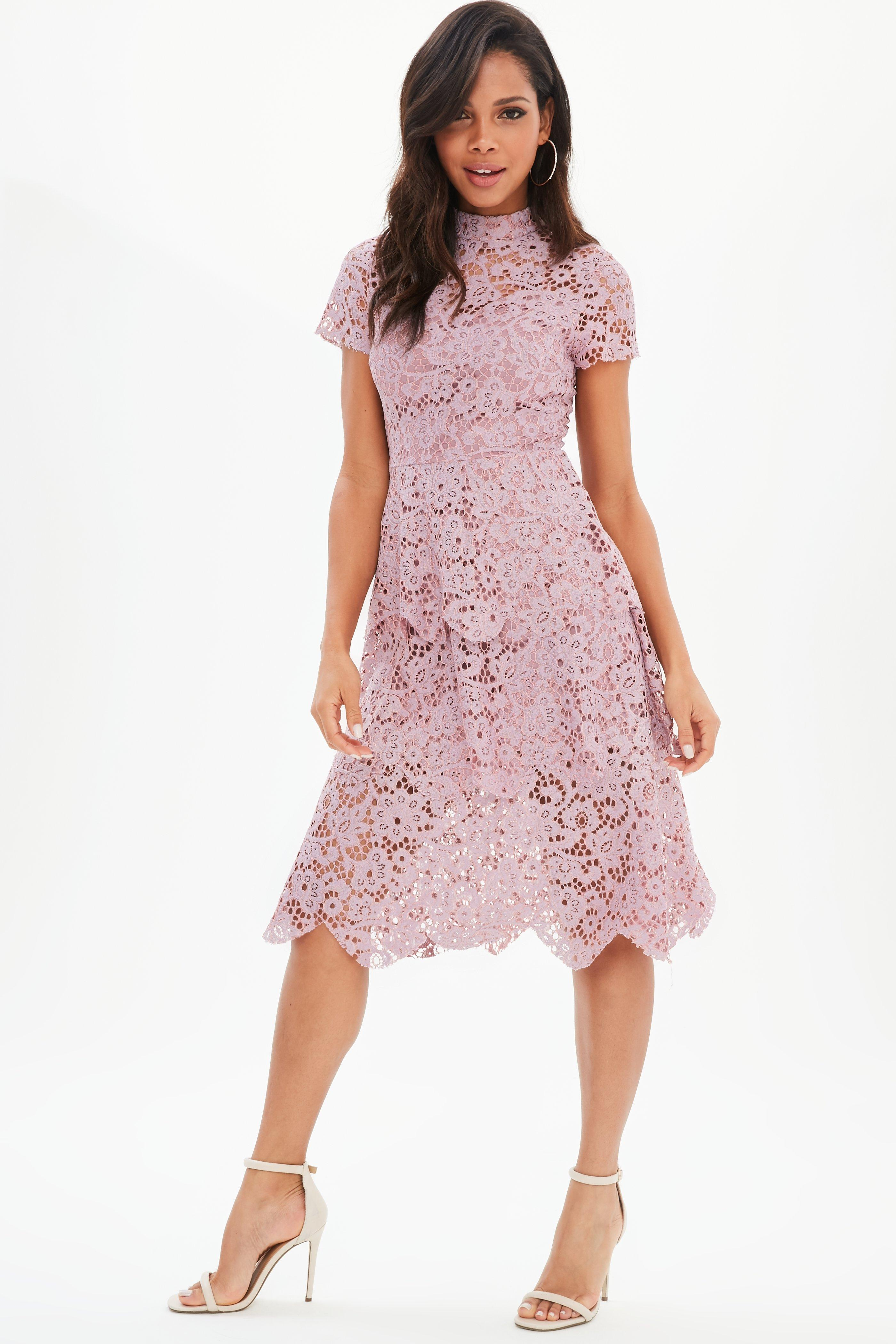 c4fdc366b347 Red Short Sleeve Lace Midi Skater Dress Missguided - AByte Computer ...