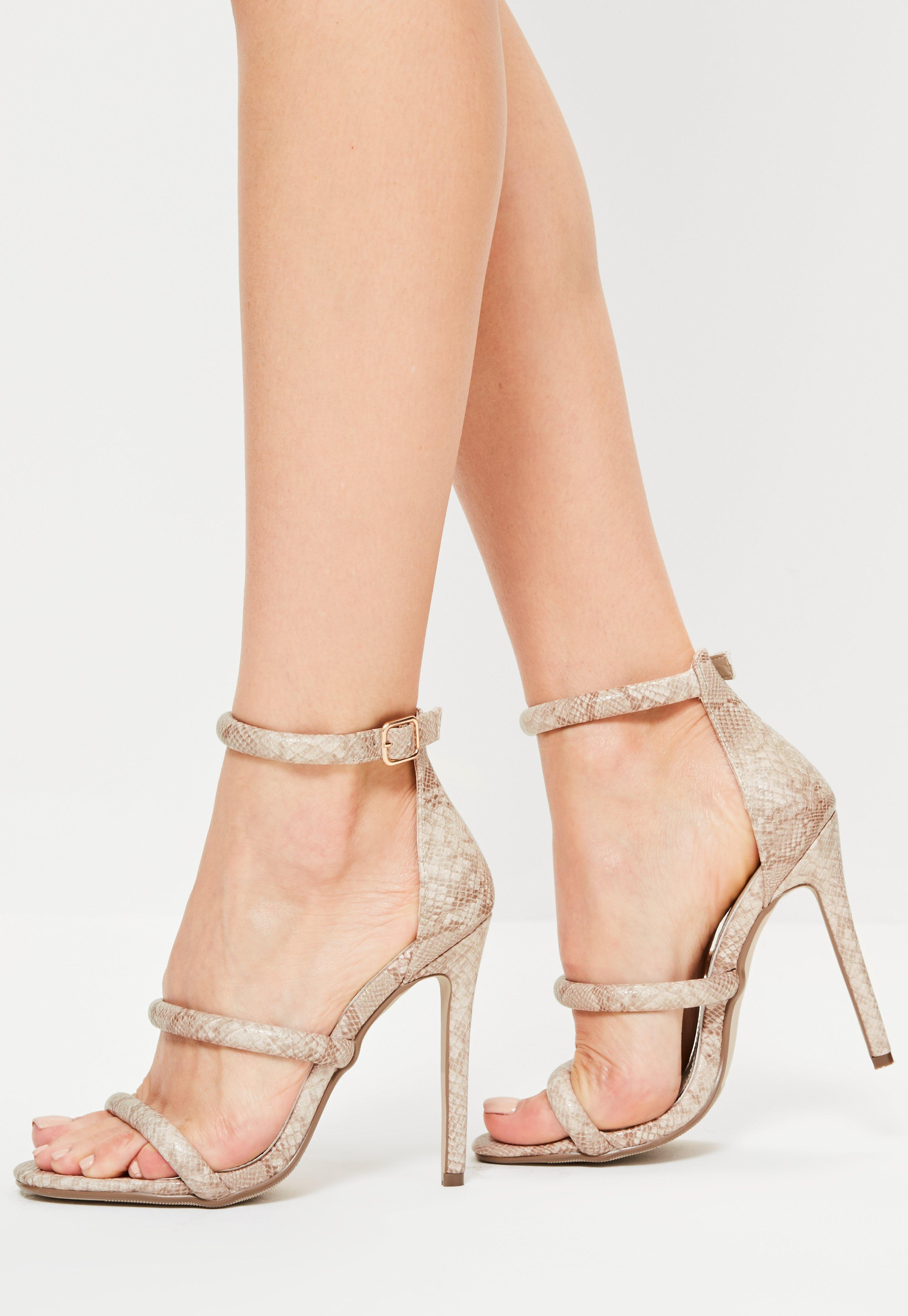 dd1a7592da50 Lyst - Missguided Nude Snake Print 3 Strap Barely There Heels in Natural