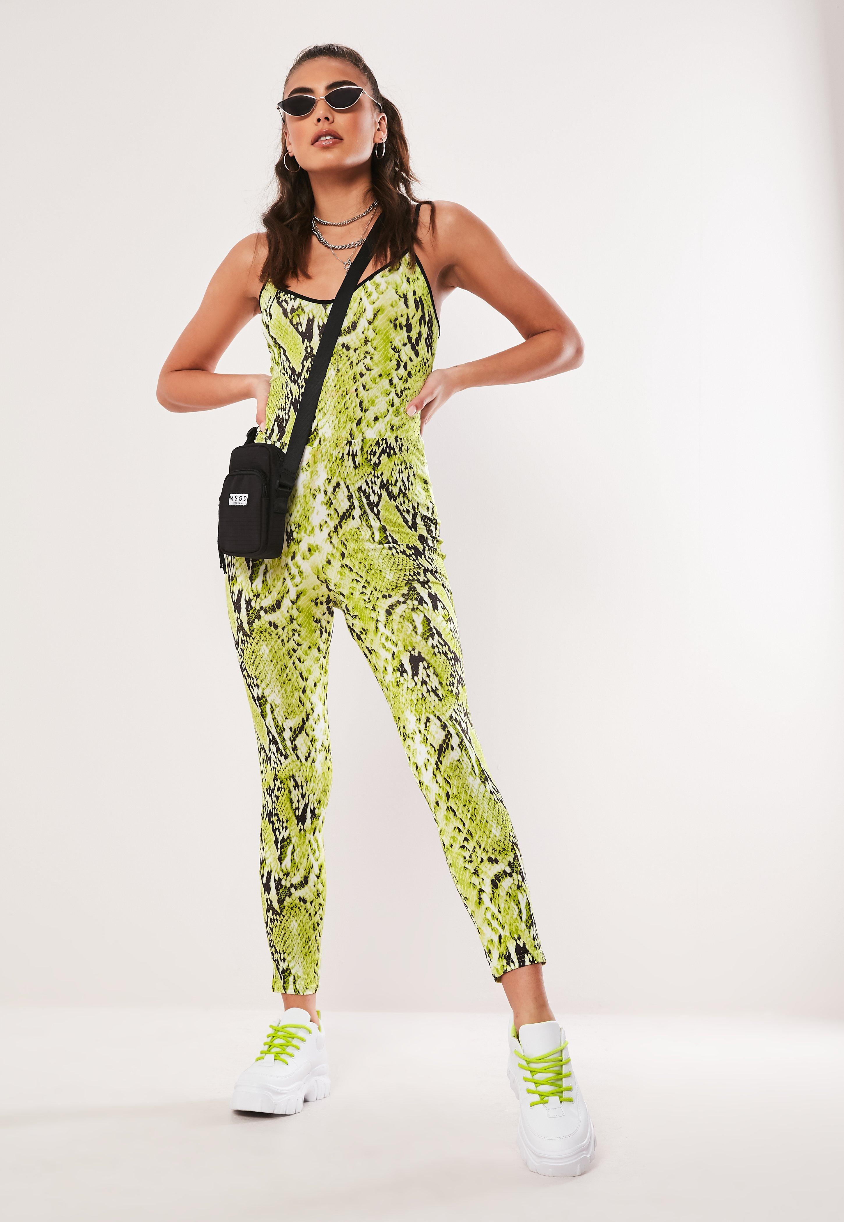 c0c24a16ef Missguided - Green Lime Snake Print Jumpsuit - Lyst. View fullscreen