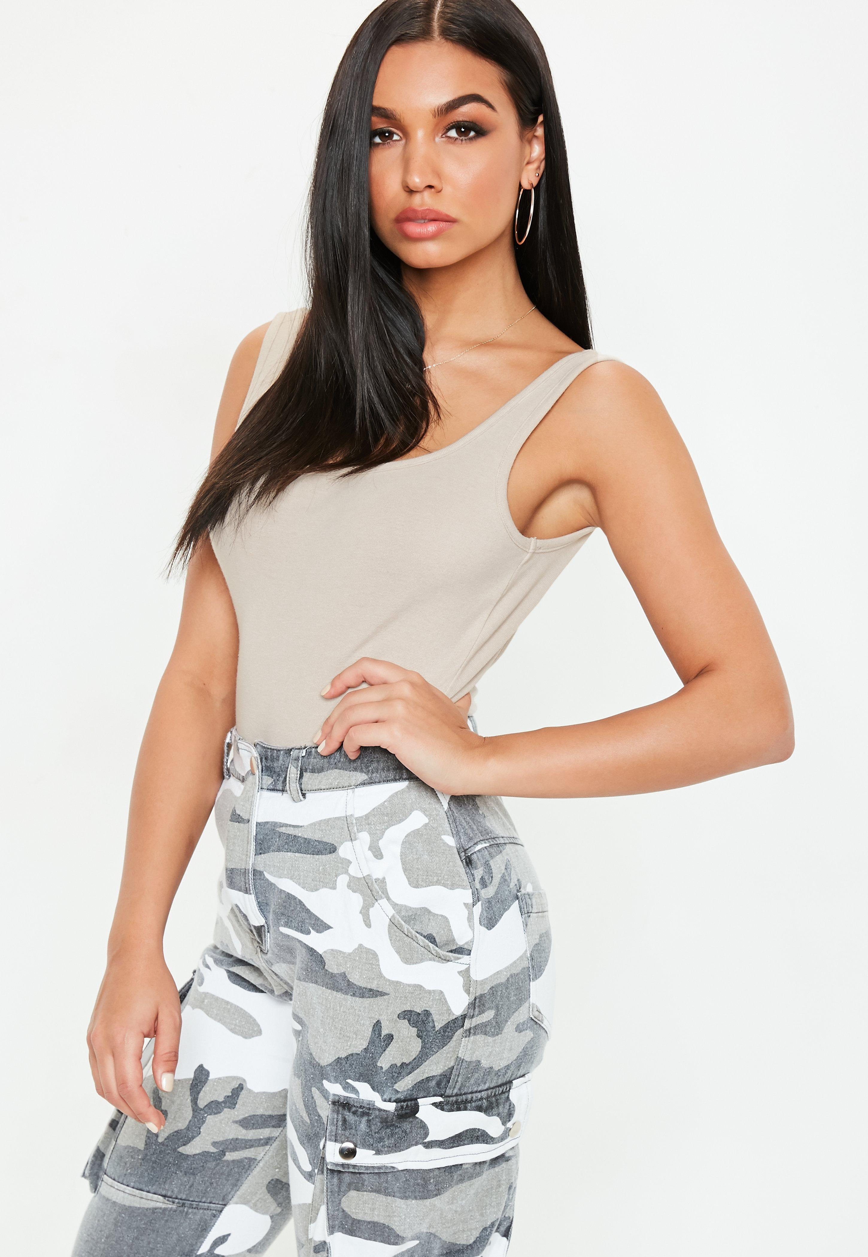 Missguided Nude Square Neck Cotton Jersey Bodysuit in Natural - Lyst f11d890de