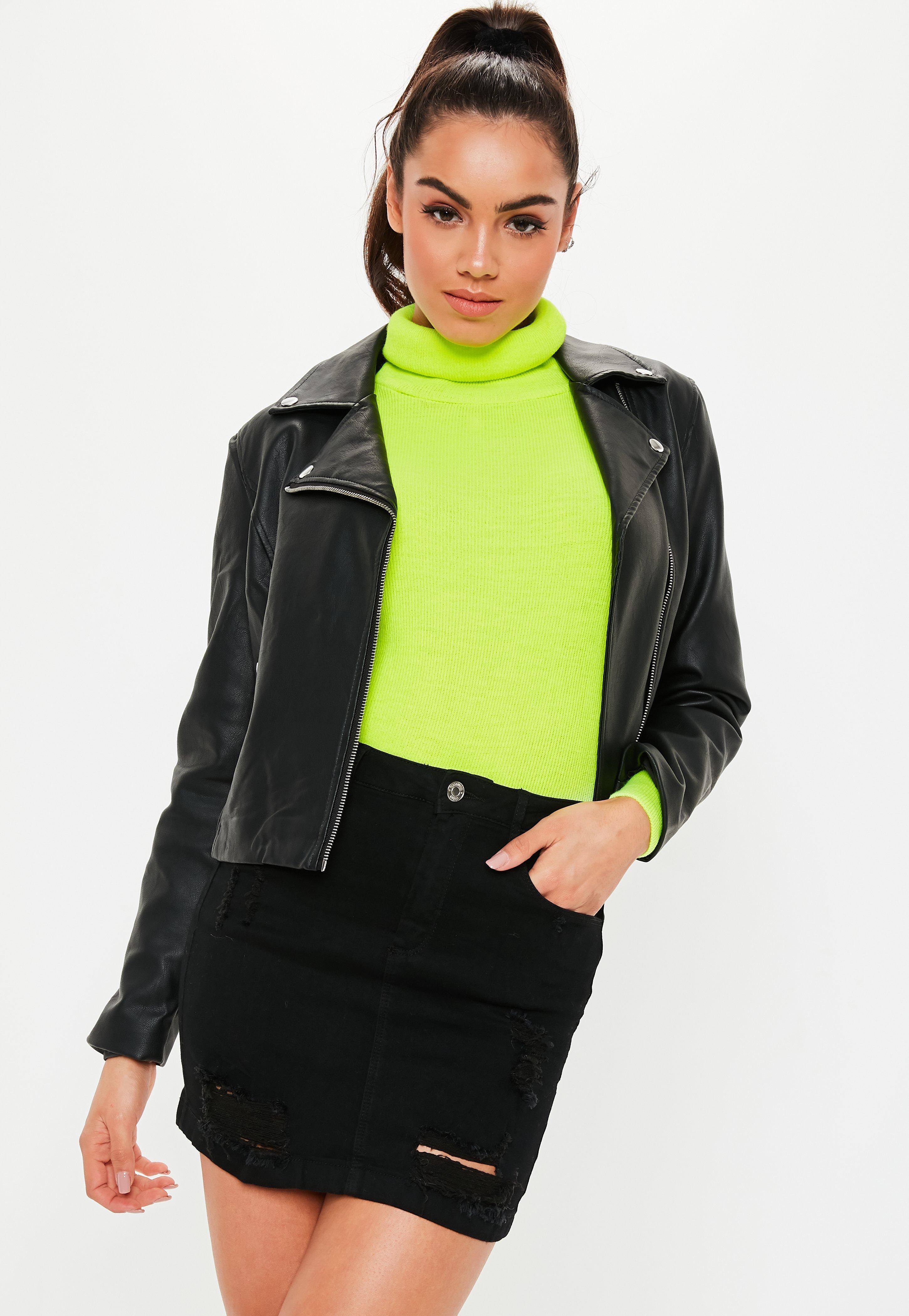 ad9aa212c1 Lyst - Missguided Petite Black Distressed Superstretch Denim Skirt ...