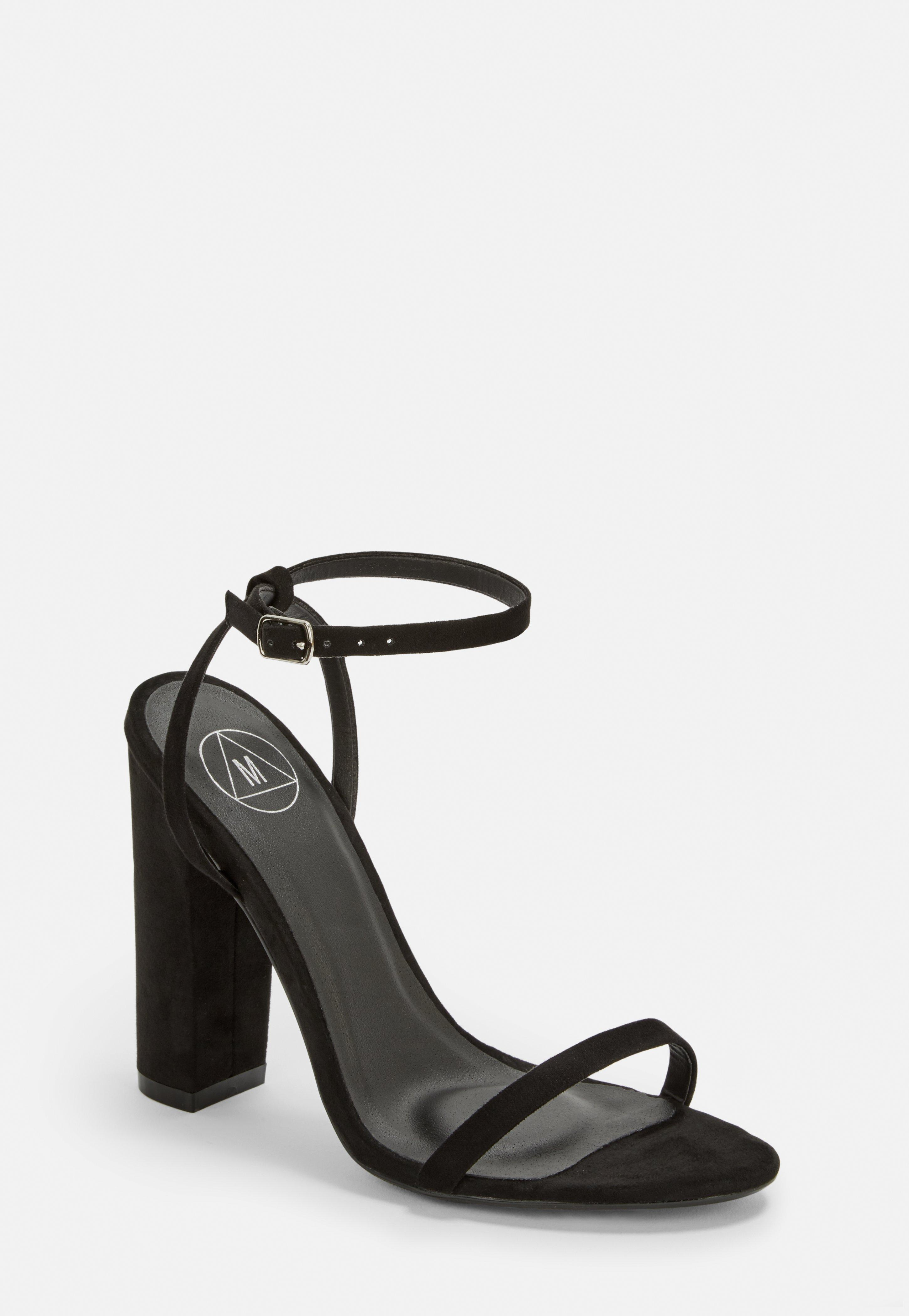 828275bdb75 Lyst - Missguided Black Faux Suede Heel Sandals in Black