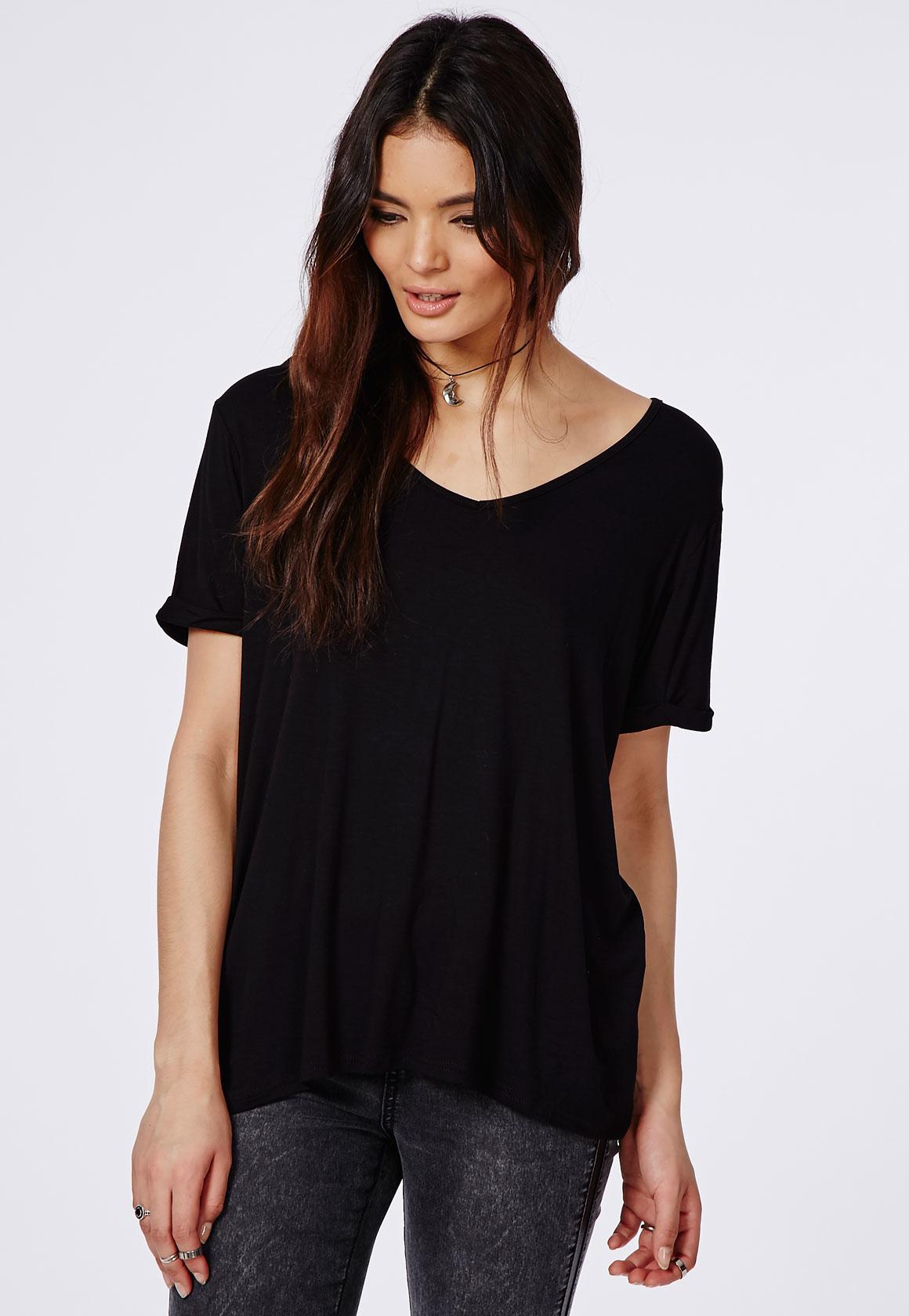 Lyst Missguided Boyfriend V Neck T Shirt Black In Black