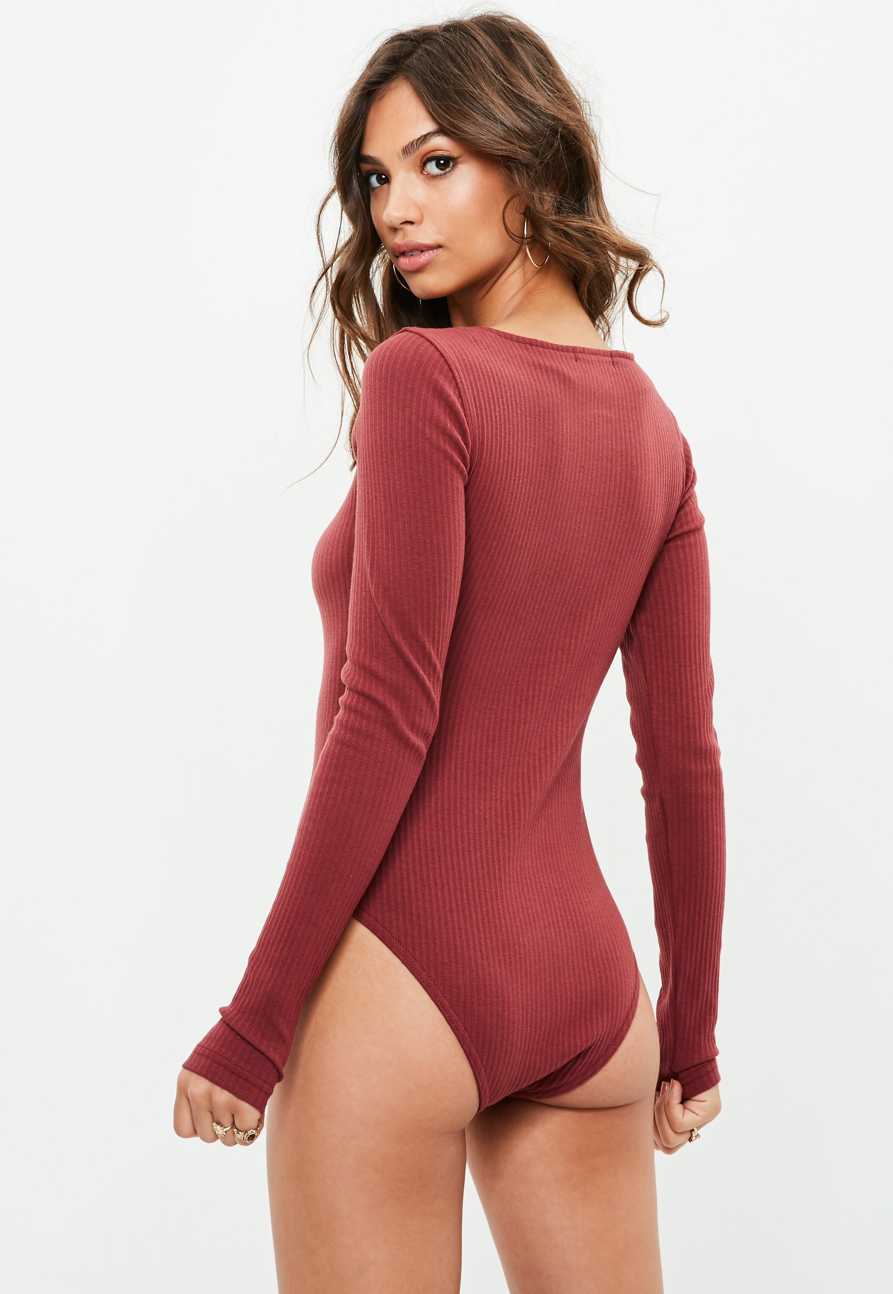 cd69c67953 Missguided Tall Burgundy Long Sleeve Lace Up Ribbed Bodysuit in Red ...