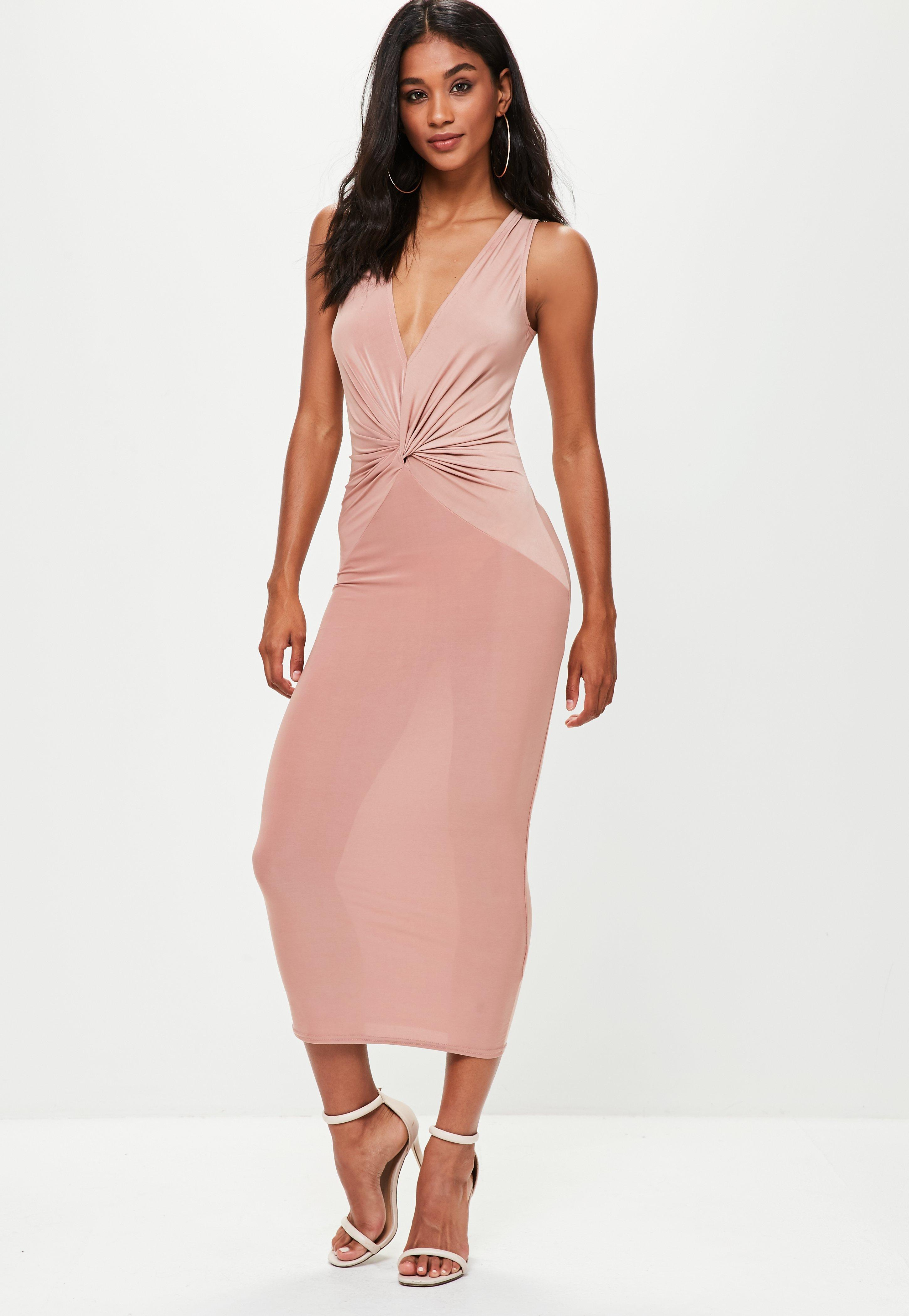 Discount Top Quality Outlet Cheap Price Missguided Pink Plunge Slinky Knot Front Dress Clearance With Paypal w2gPJ3XdV