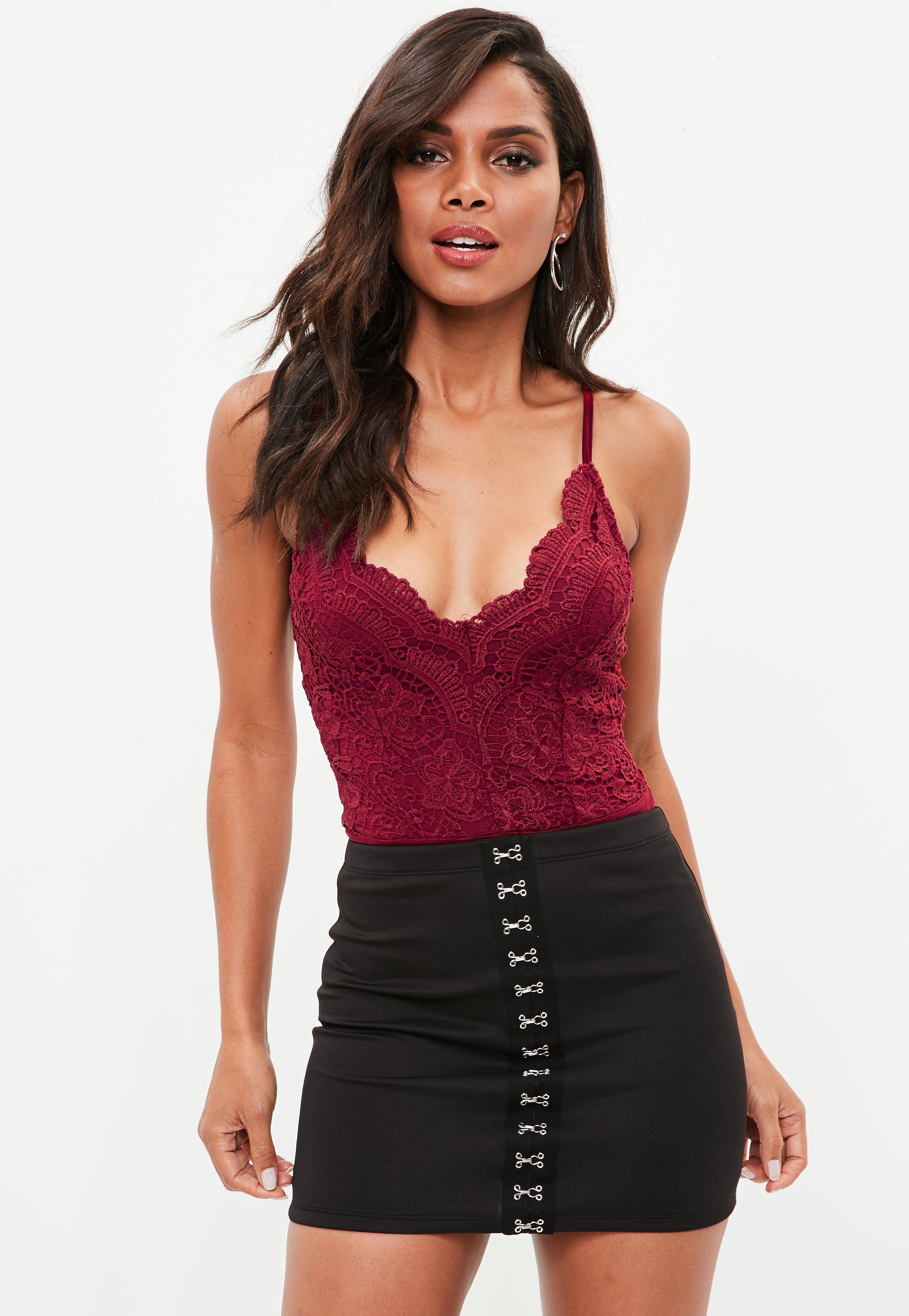 Lyst - Missguided Red Lace Cami Strap Bodysuit in Red 5b9d46562