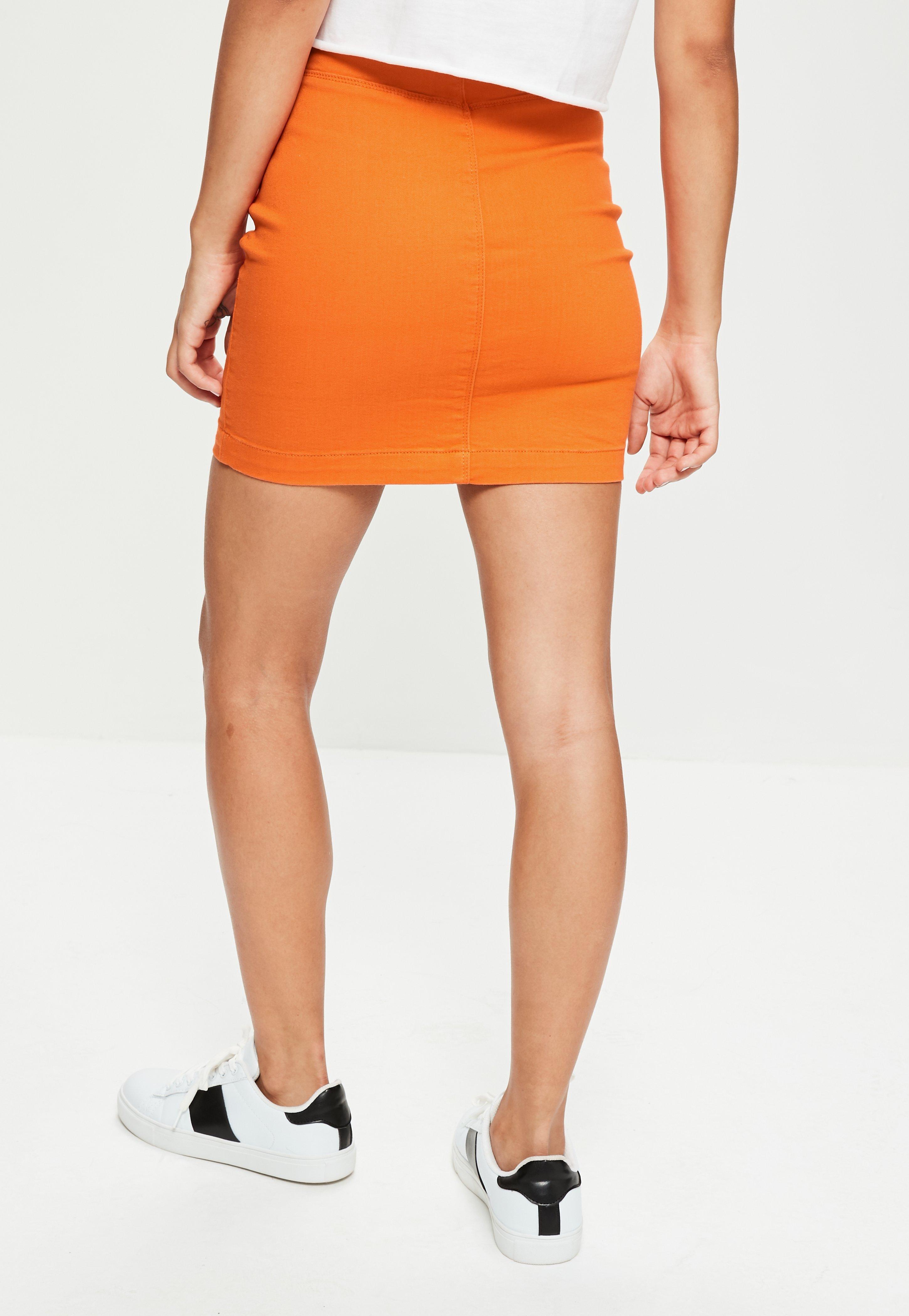 0e5bf4a42d Lyst - Missguided Orange Super Stretch Denim Mini Skirt in Orange
