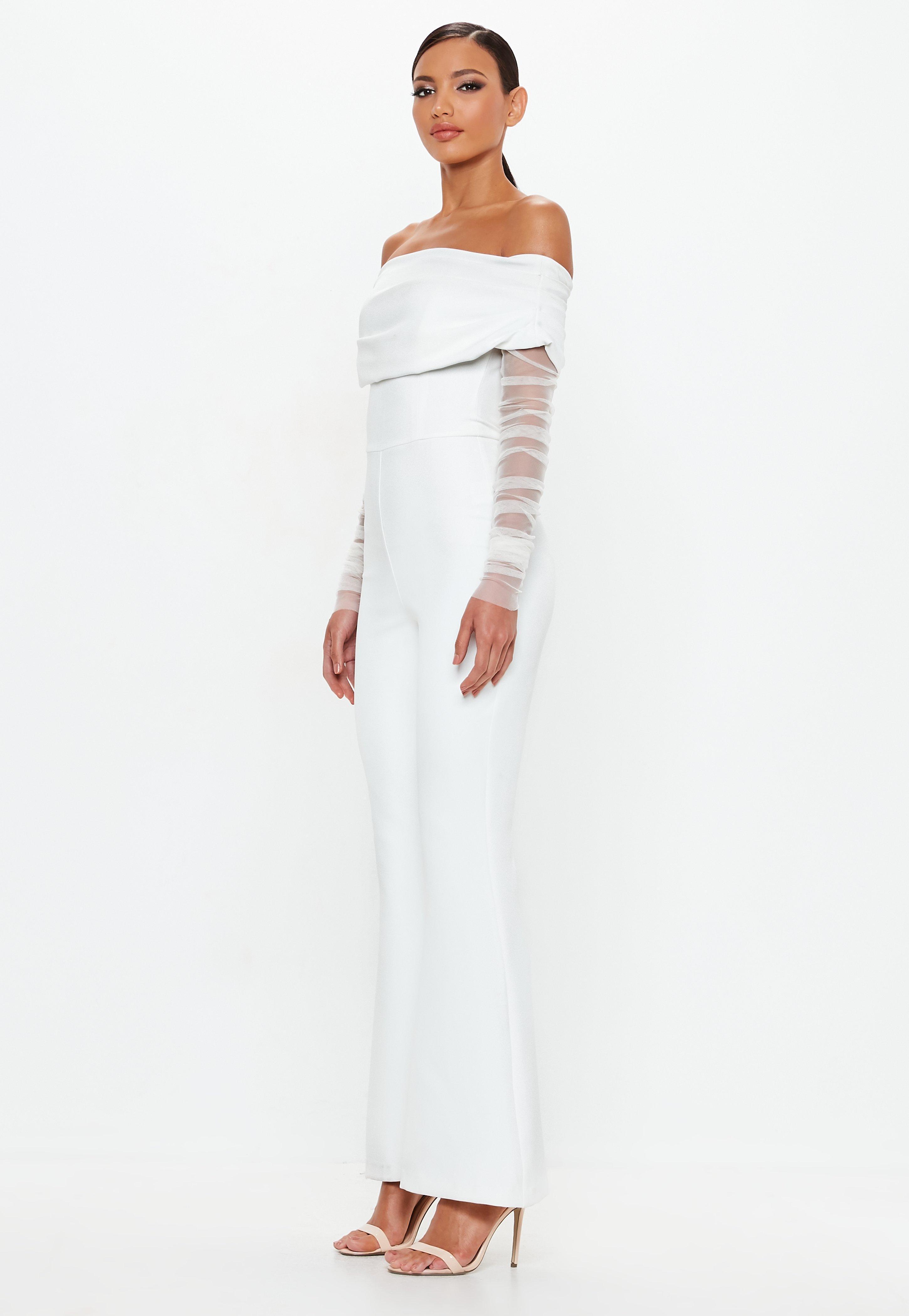 e5f7fbe1e38 Missguided Peace + Love White Bardot Flare Leg Jumpsuit in White - Lyst