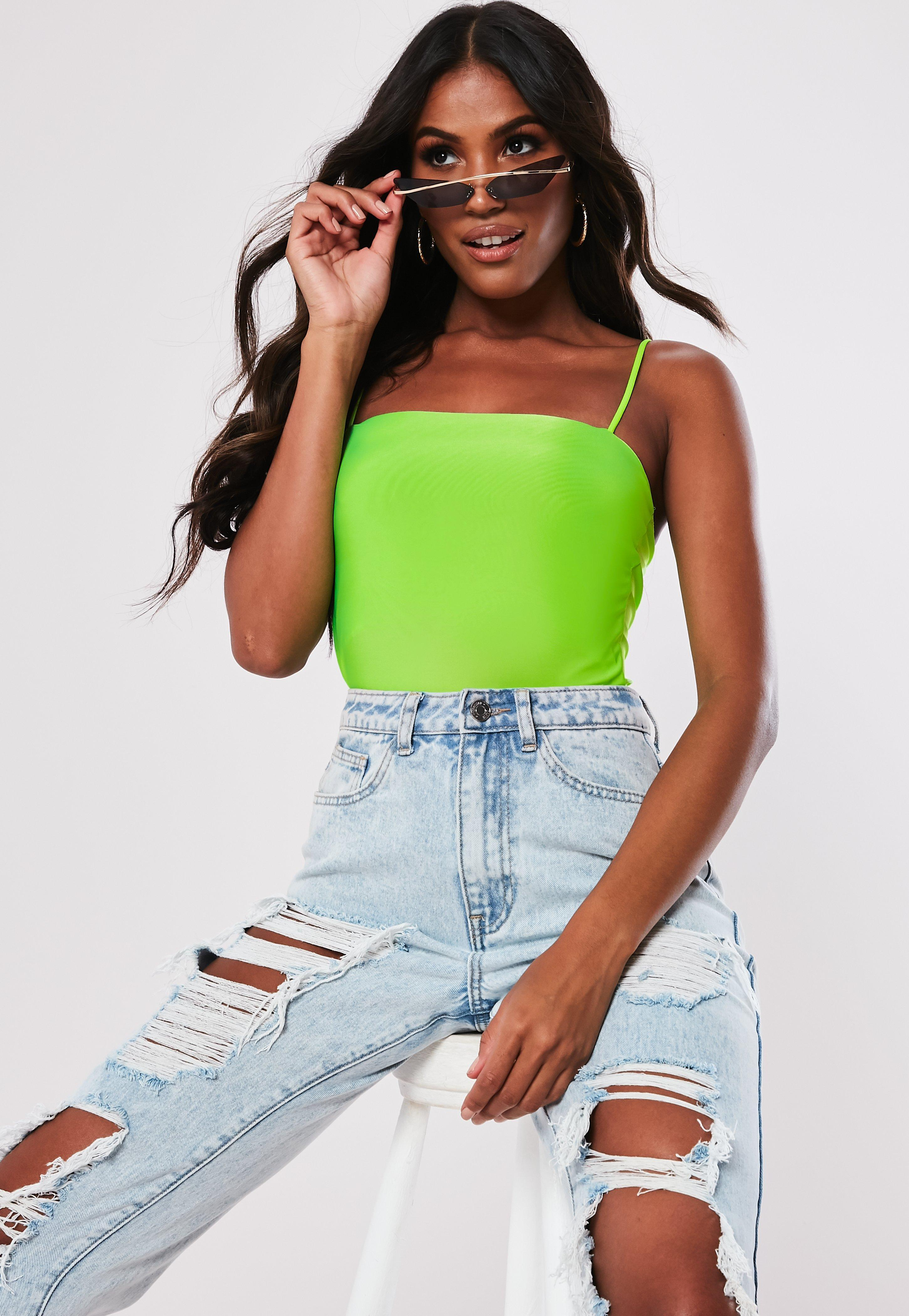 d2bfd50c387 Lyst - Missguided Lime Slinky Straight Neck Bodysuit in Green