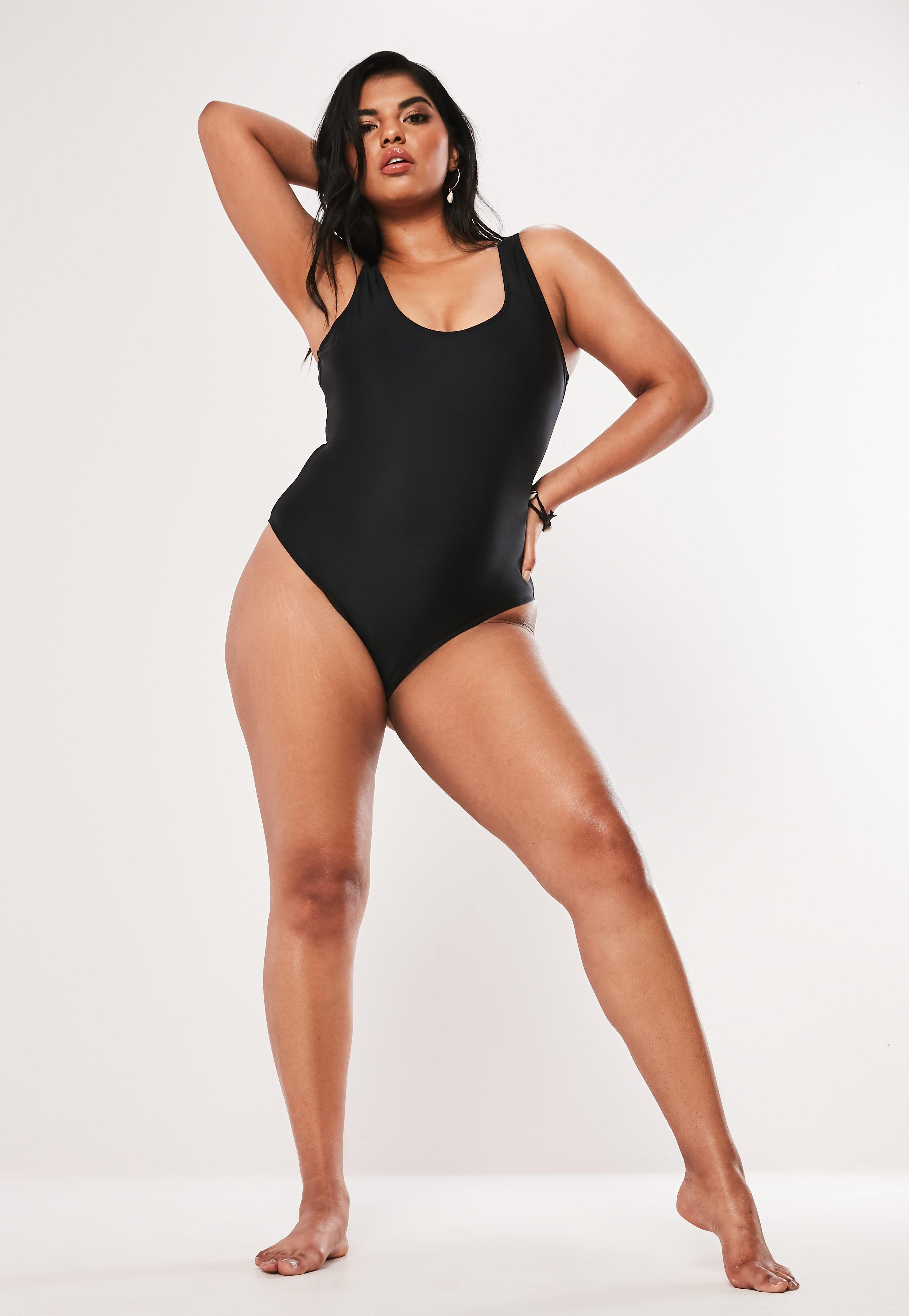 bc7e719a46d Missguided Plus Size Black Scoop Neck High Leg Swimsuit in Black - Lyst