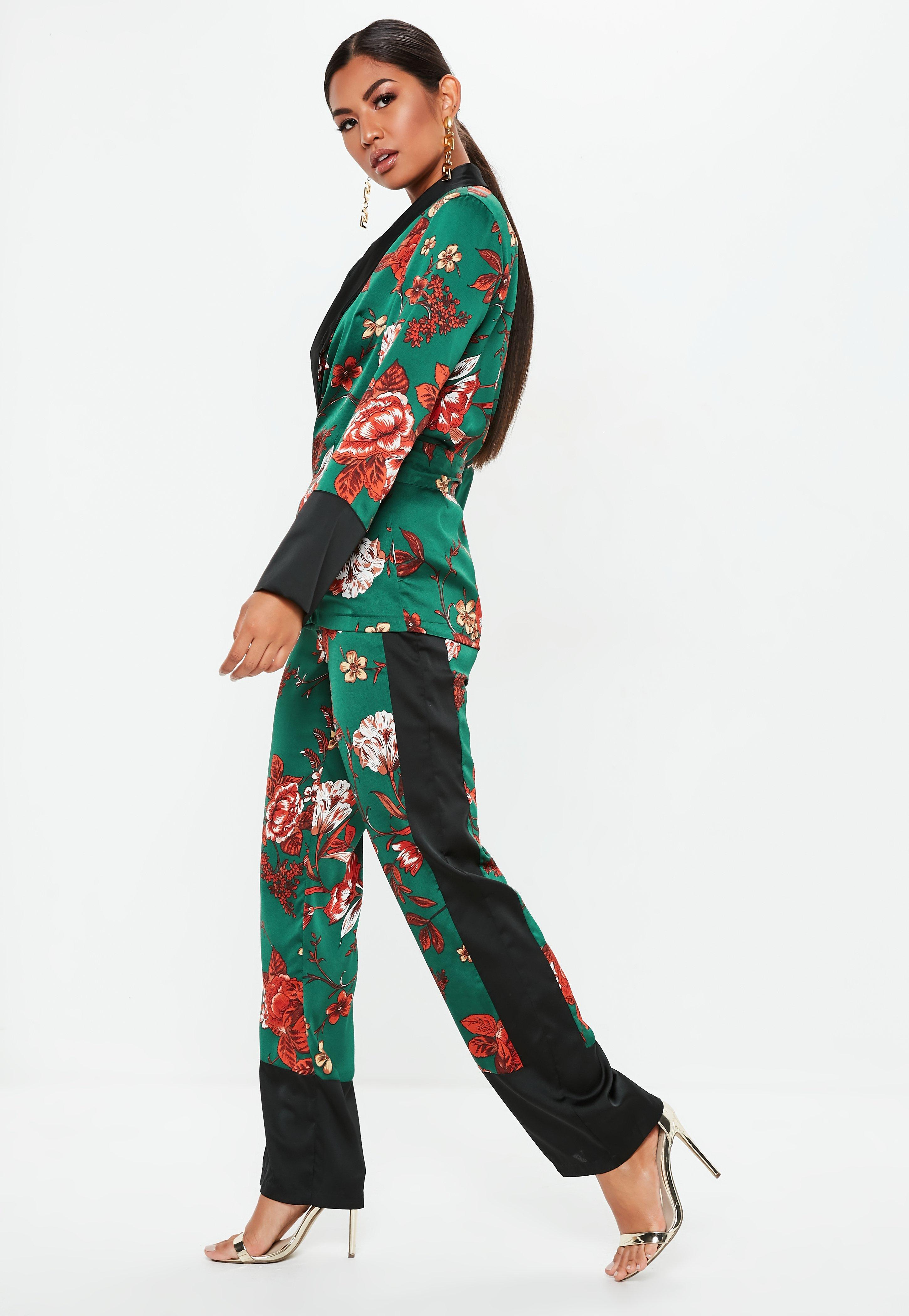 6d7460a13ffc Lyst - Missguided Green Satin Side Stripe Floral Wide Leg Trousers ...