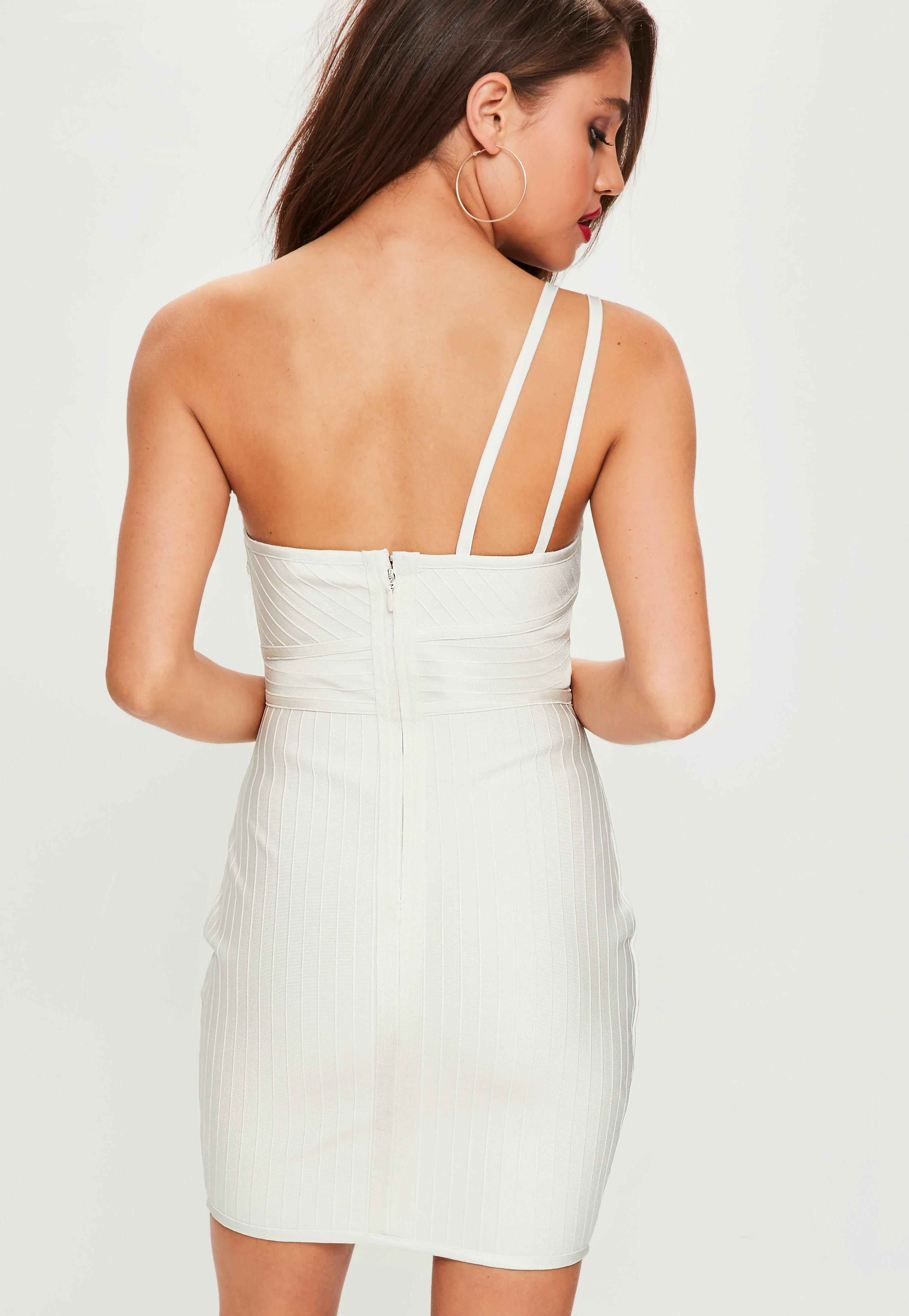 c618d909f15 Lyst - Missguided White One Shoulder Bandage Mini Dress in White