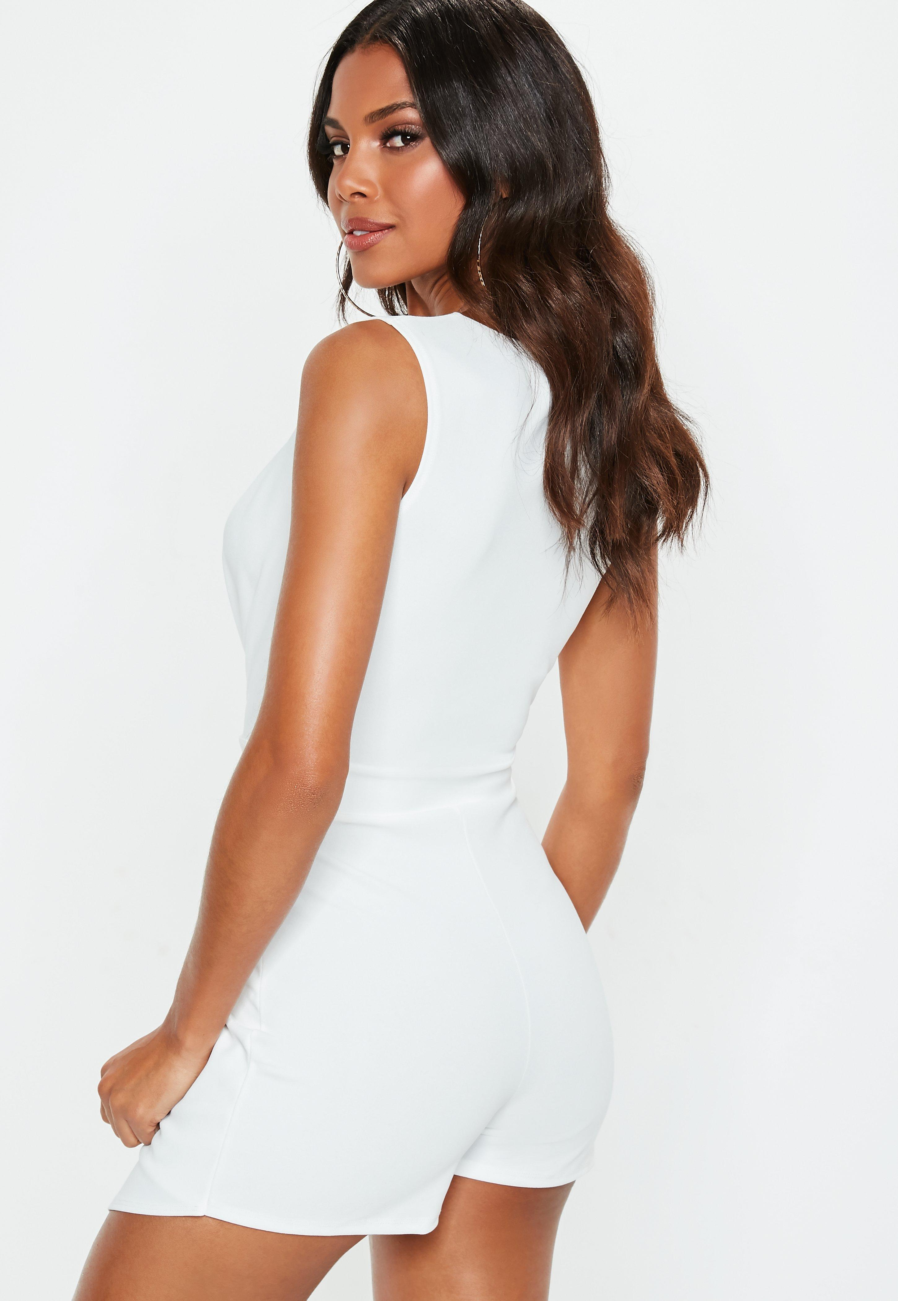 28fbbbed6c5 Lyst - Missguided Cream Pleated Skort Plunge Romper in Natural